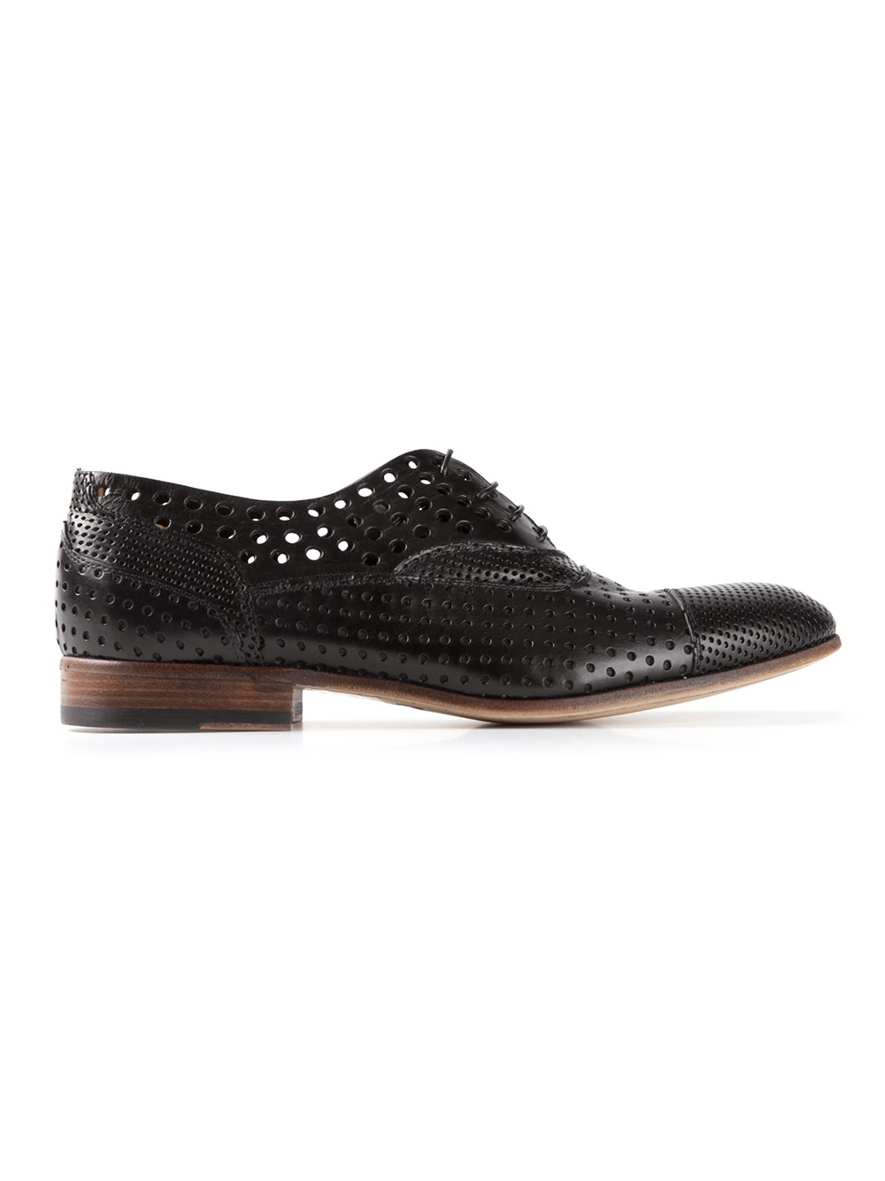 raparo perforated oxford shoes in black for lyst