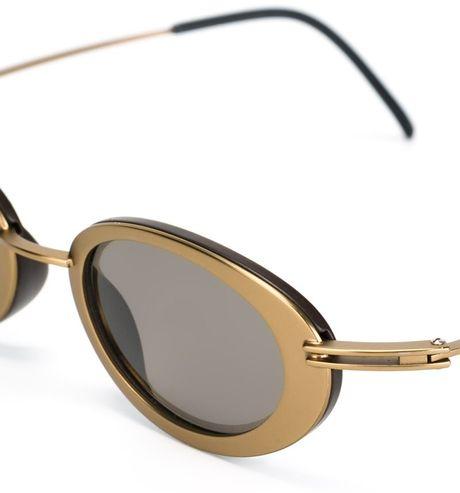 Gold Frame Oval Sunglasses : Yohji Yamamoto Oval Frame Sunglasses in Gold (METALLIC) Lyst