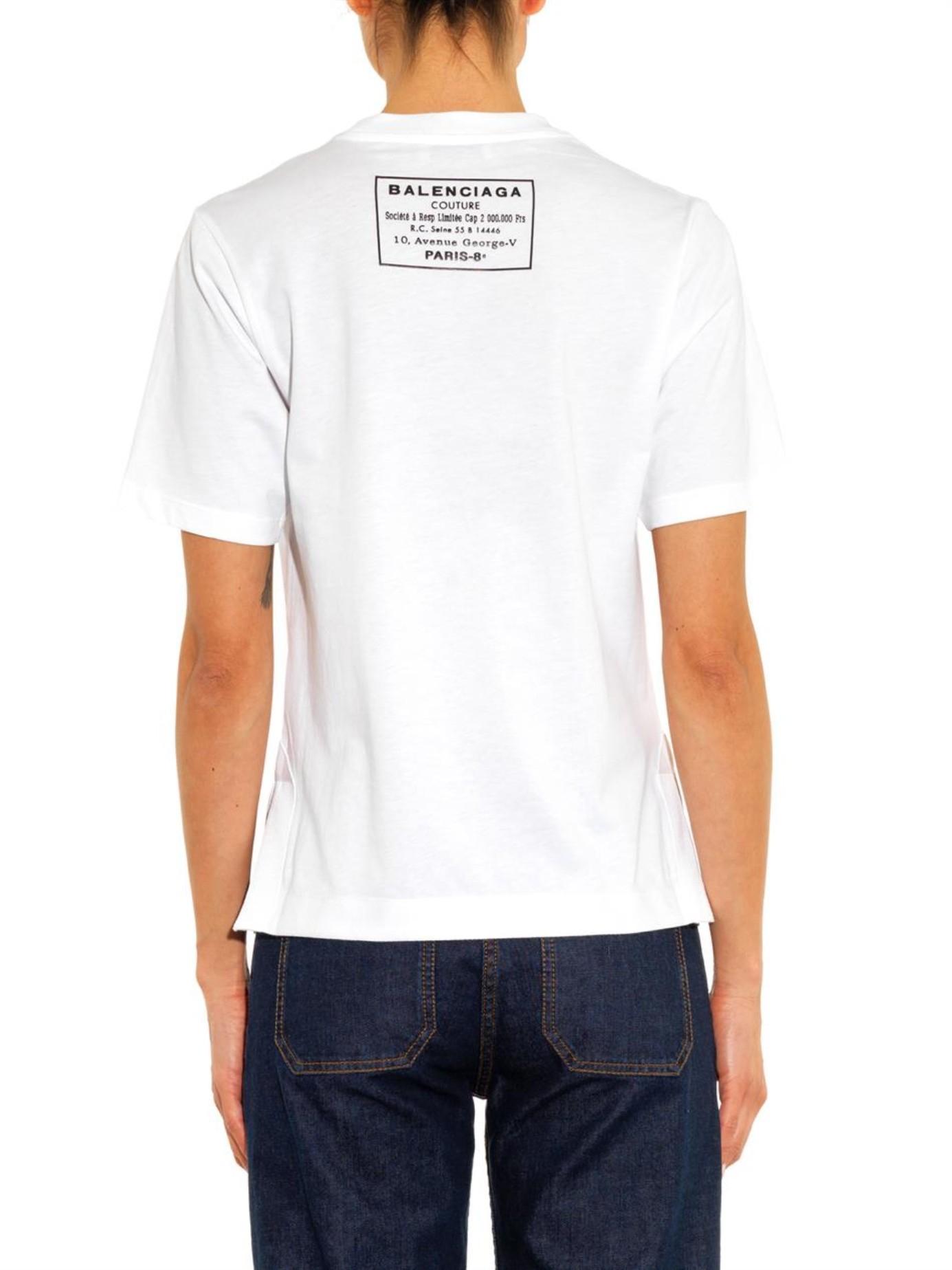 Lyst Balenciaga Logo Print T Shirt In White