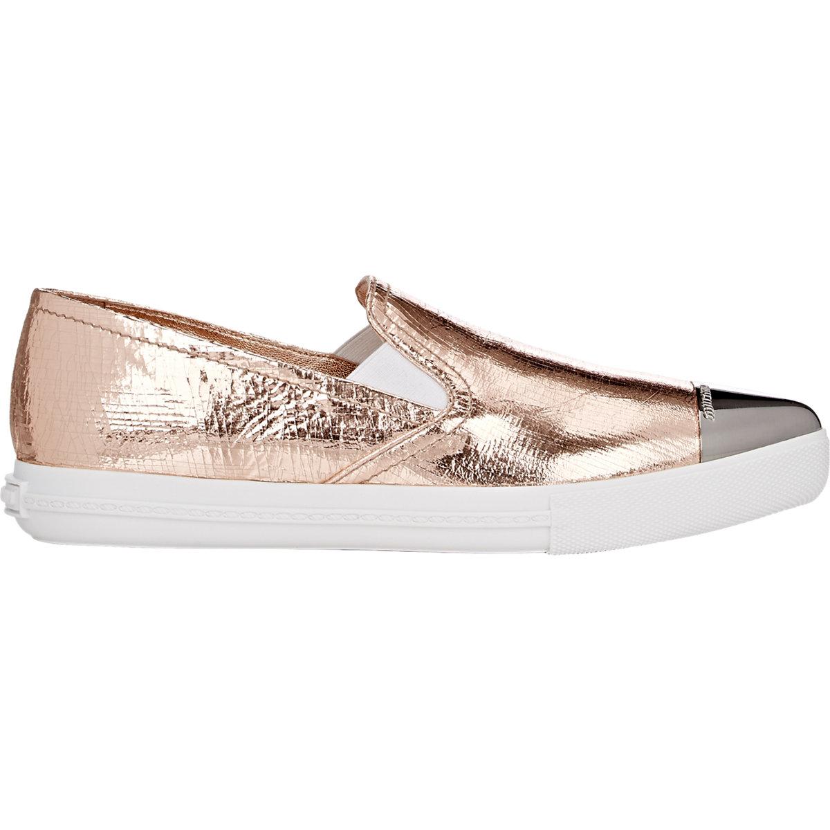 miu miu s metallic toe sport sneakers in metallic lyst