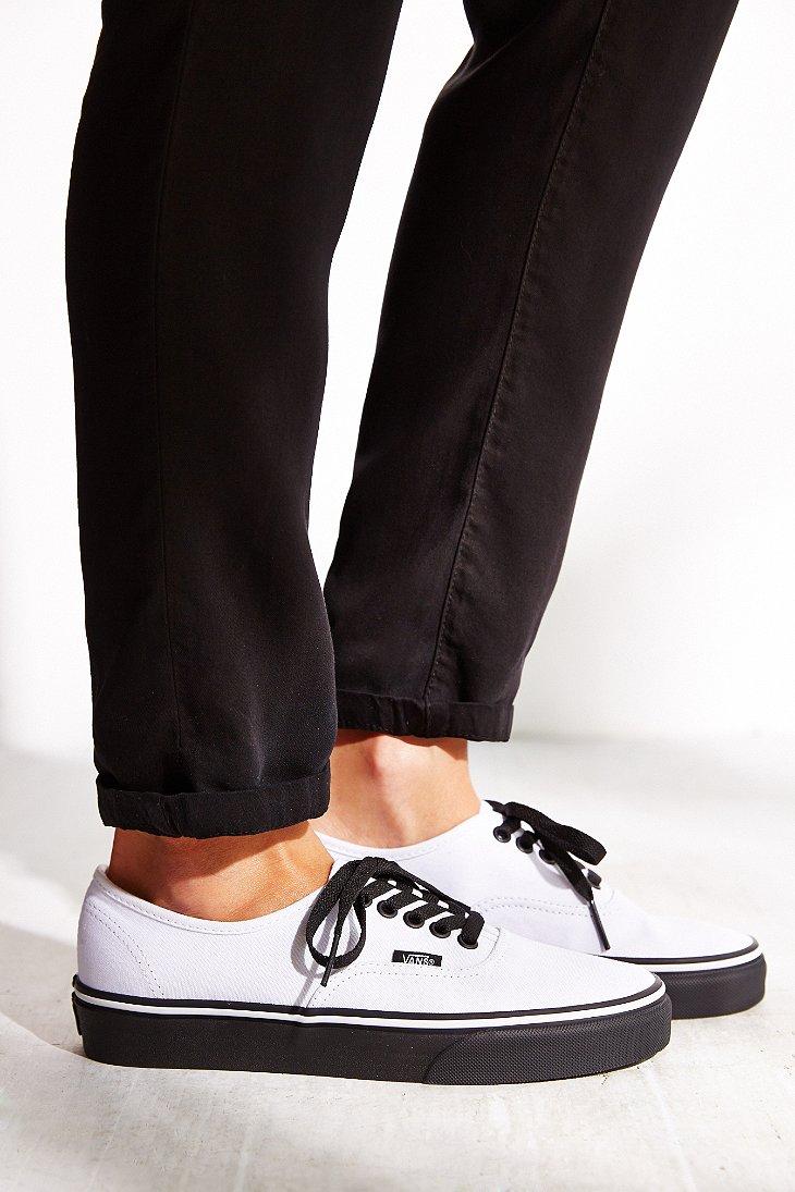 Lyst - Vans Authentic Black Sole Sneaker in White c60715fa29