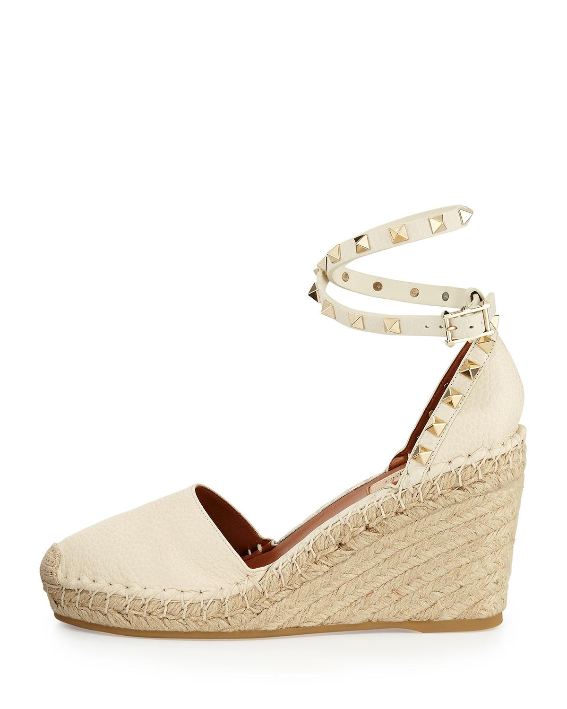 Lyst Valentino Rockstud Espadrille Wedge Sandal In White