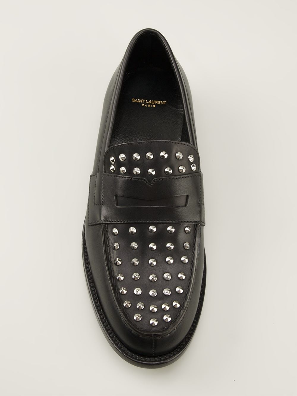 5acb63fc28e Saint Laurent Studded Loafers in Black - Lyst