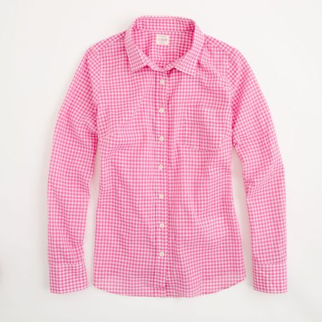 J Crew Factory Classic Buttondown Shirt In Gingham In Pink