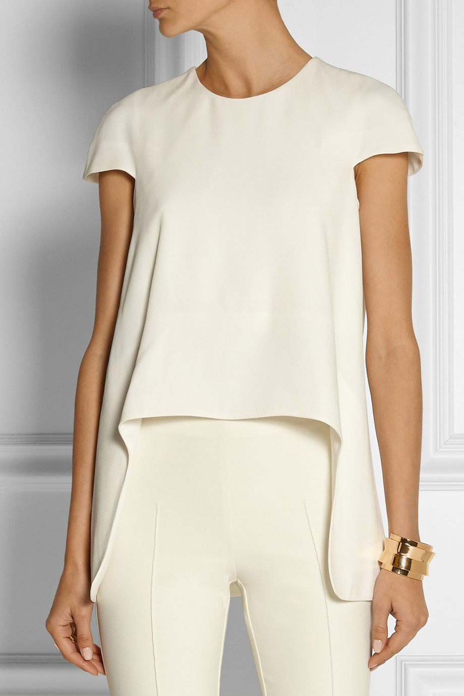 c70988018799a Lyst - Alexander McQueen Asymmetric Crepe Top in White