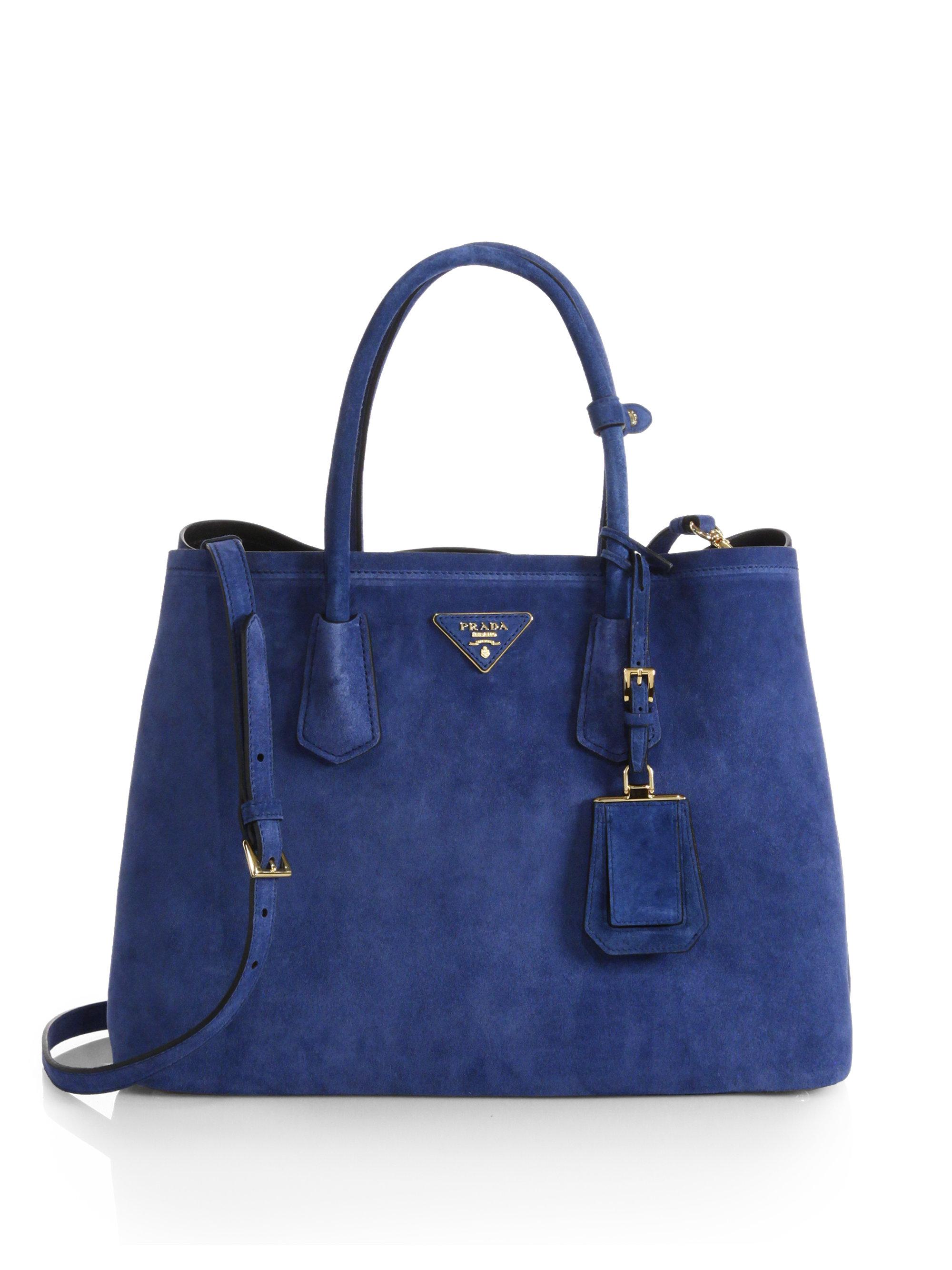 3fdddcb9e707 Lyst - Prada Suede Double Bag in Blue