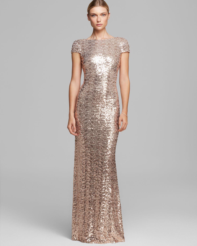 Lyst Badgley Mischka Gown Cowlneck Back Cap Sleeve Sequin In Pink