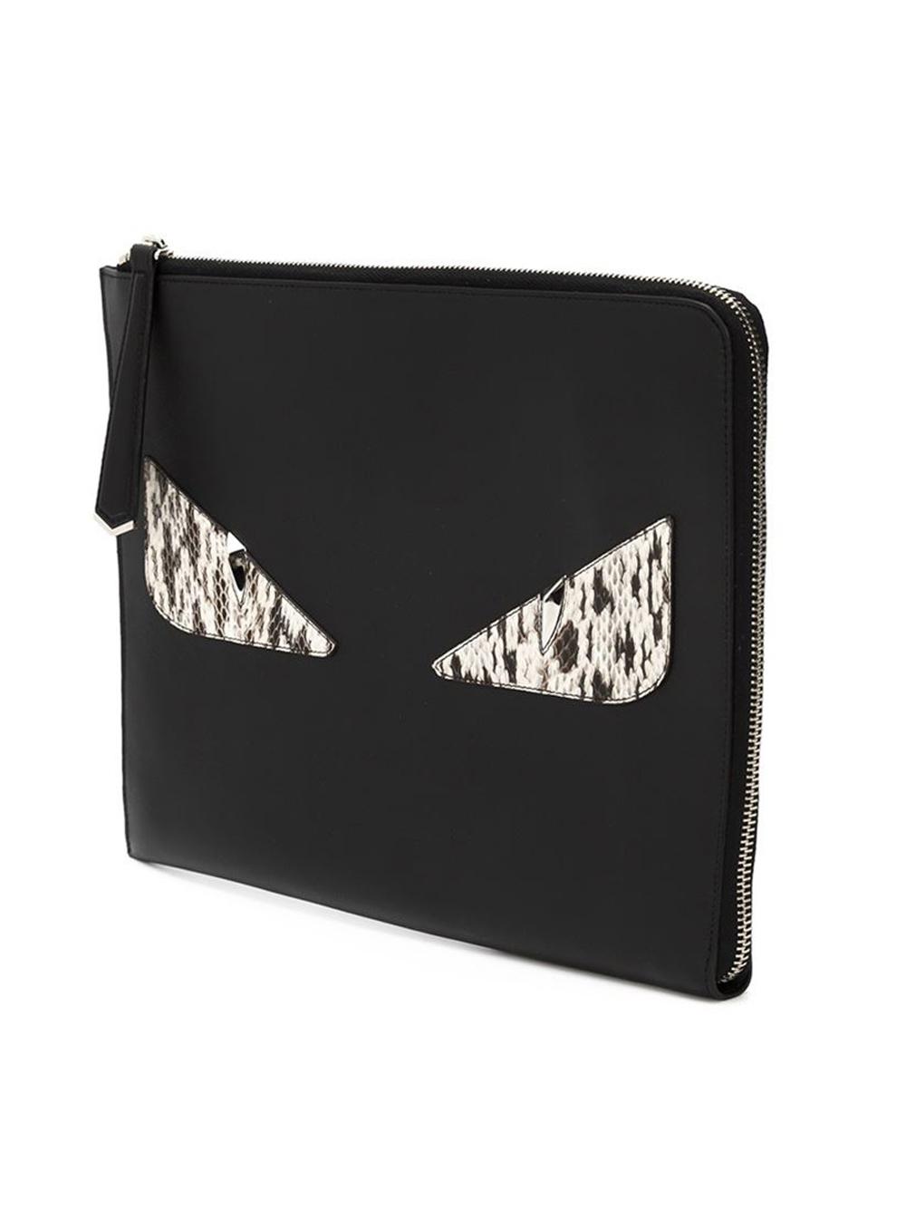 Lyst - Fendi Bag Bugs Clutch in Black be74f90708540