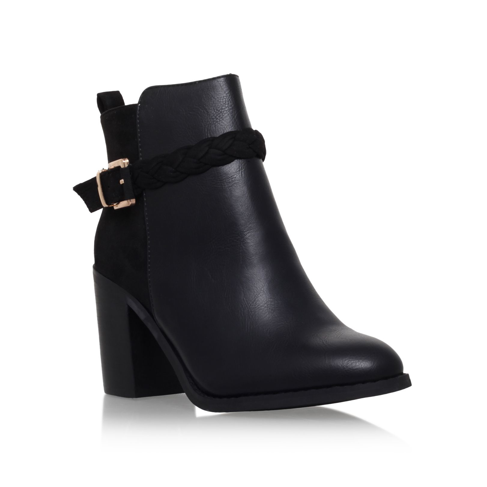 miss kg mid block heel buckle ankle boots in black