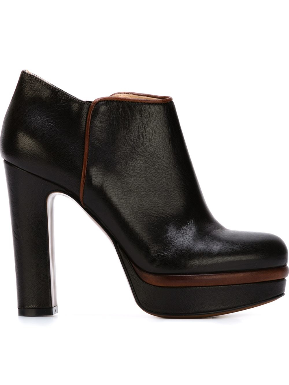 l autre chose leather platform boots in brown lyst