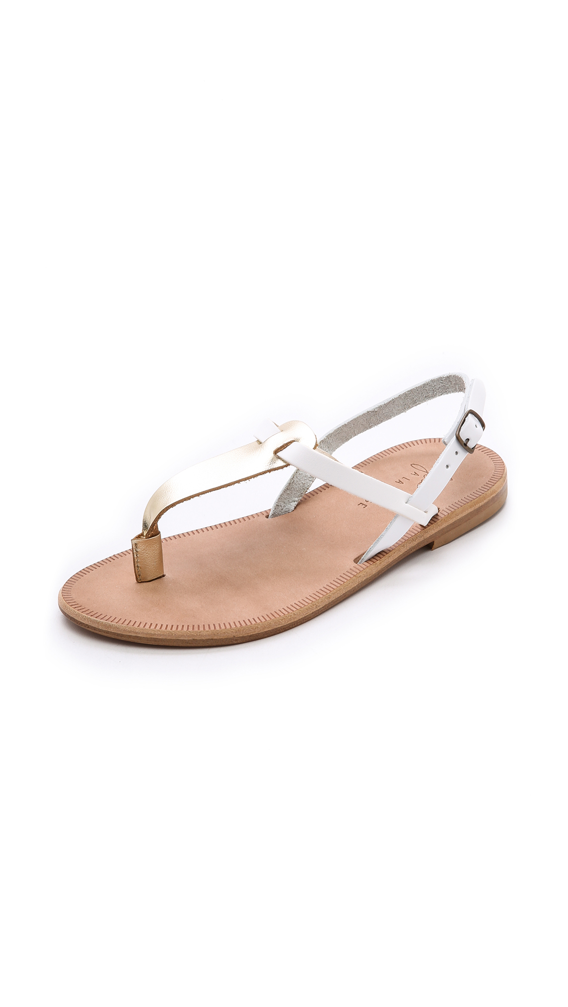7c9efe45a03f Lyst - Joie A La Plage Topanga Metallic Flat Sandals - White Gold ...