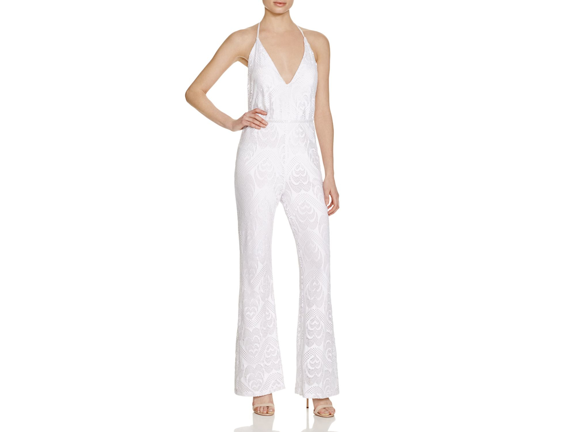 f423e37ad2cd Lyst - Guess Sara Flare Jumpsuit in White