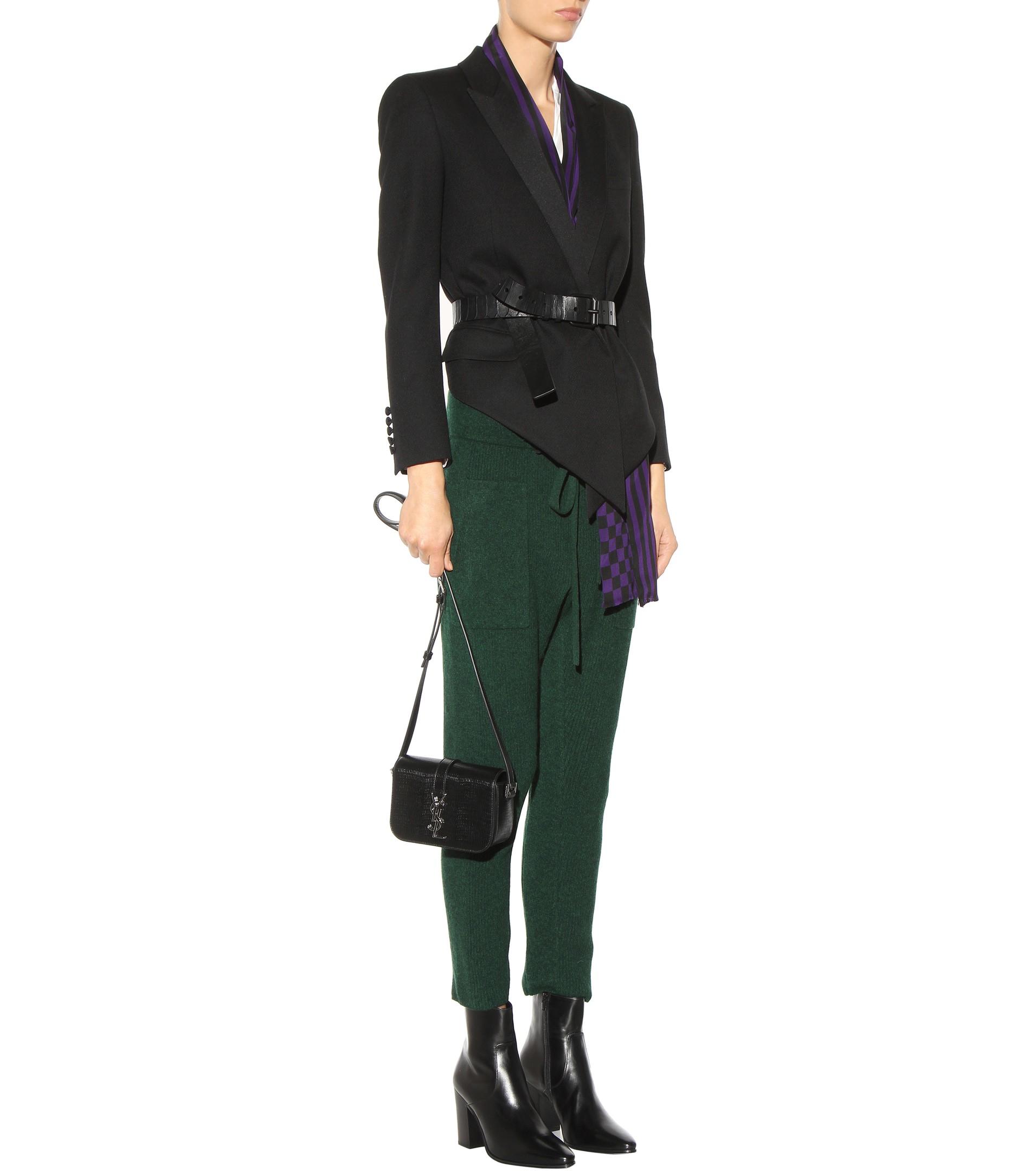 Saint Laurent Ysl Tri-pocket Bag In Black Leather