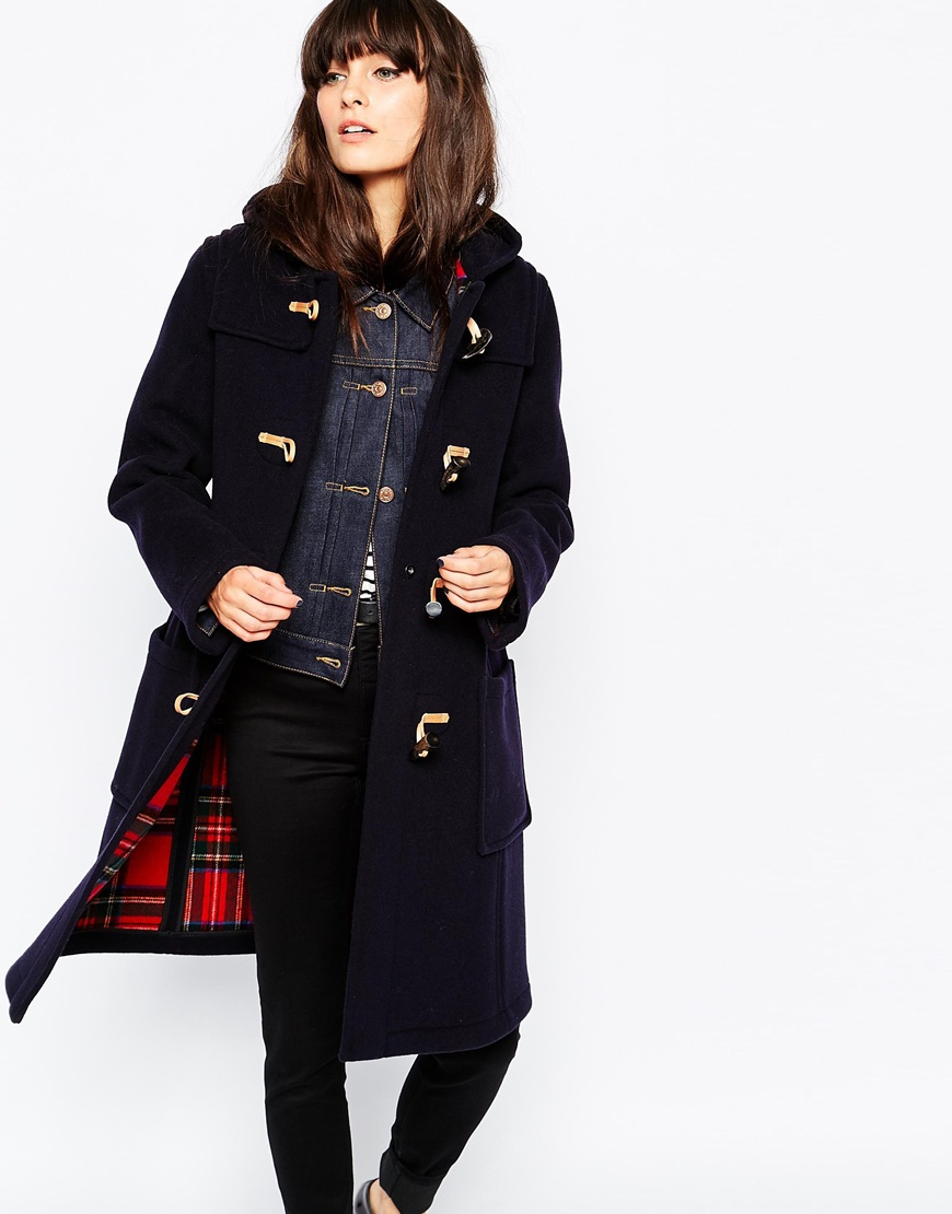 Gloverall Slim Fit Duffle Coat With Tartan Lining in Blue | Lyst