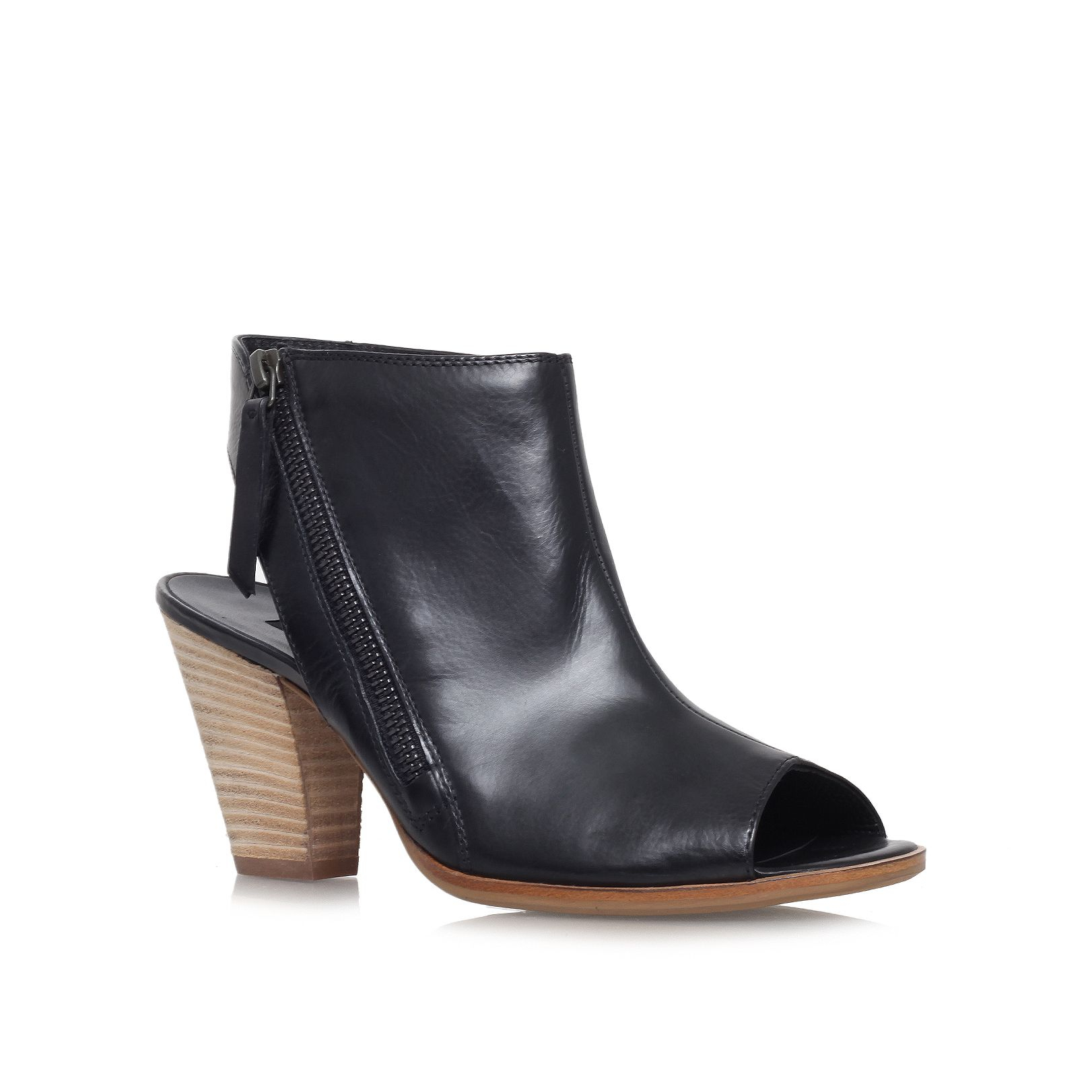 paul green annabel mid heel peep toe shoe boots in black