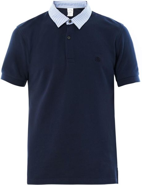 Brooks Brothers Contrast Collar Polo Shirt in Blue for MenBrooks Brothers Polo