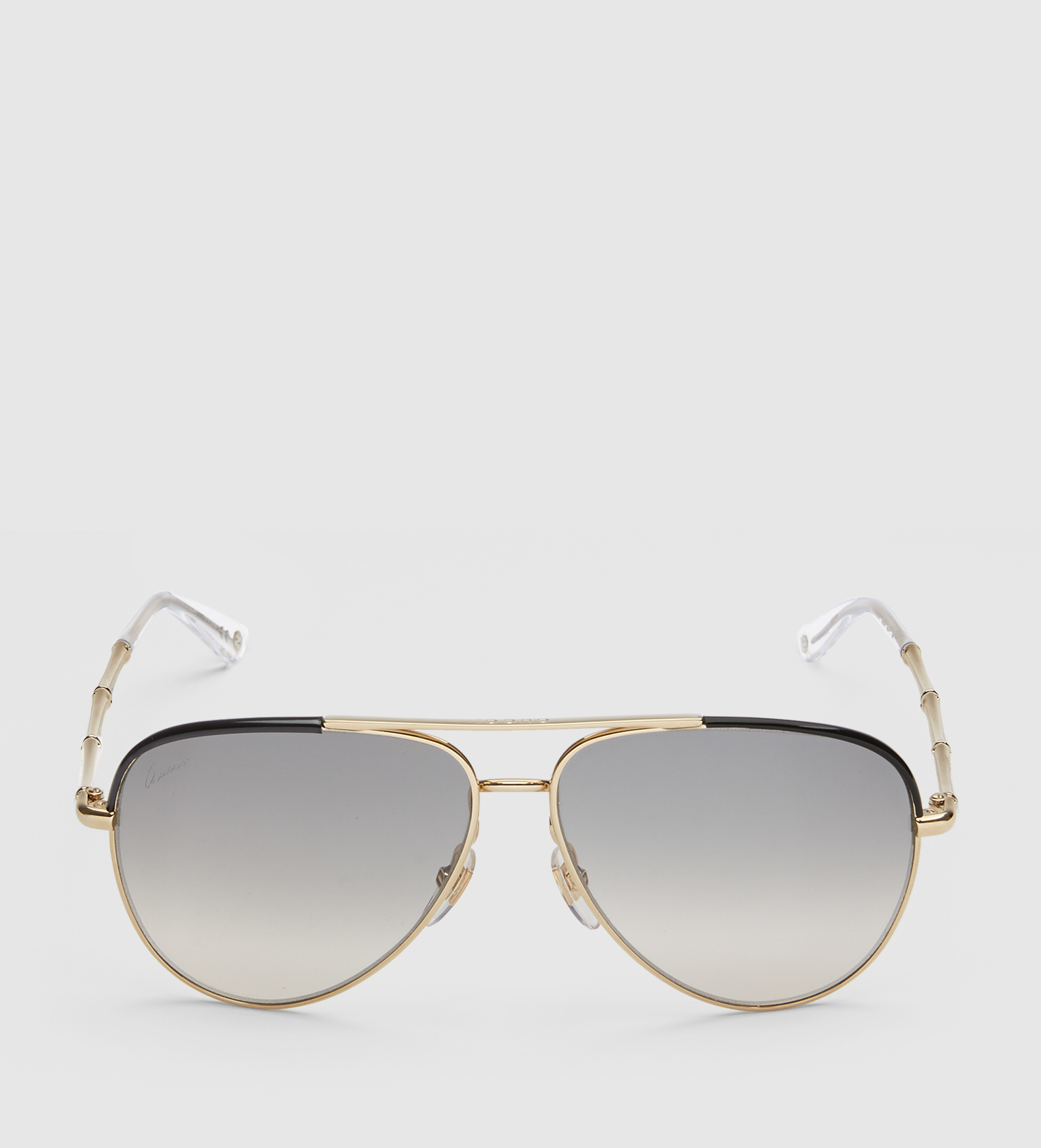 bdda283e4d7 Gucci Aviator Sunglasses With Metal Bamboo Temples in Natural - Lyst
