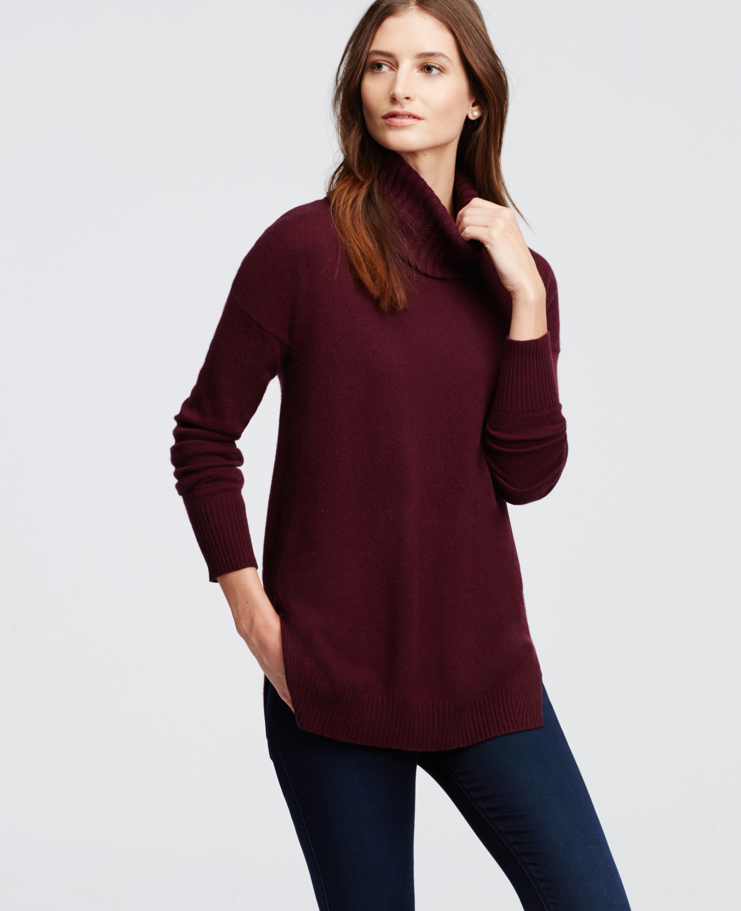 Ann taylor Cashmere Turtleneck Tunic Sweater in Purple | Lyst