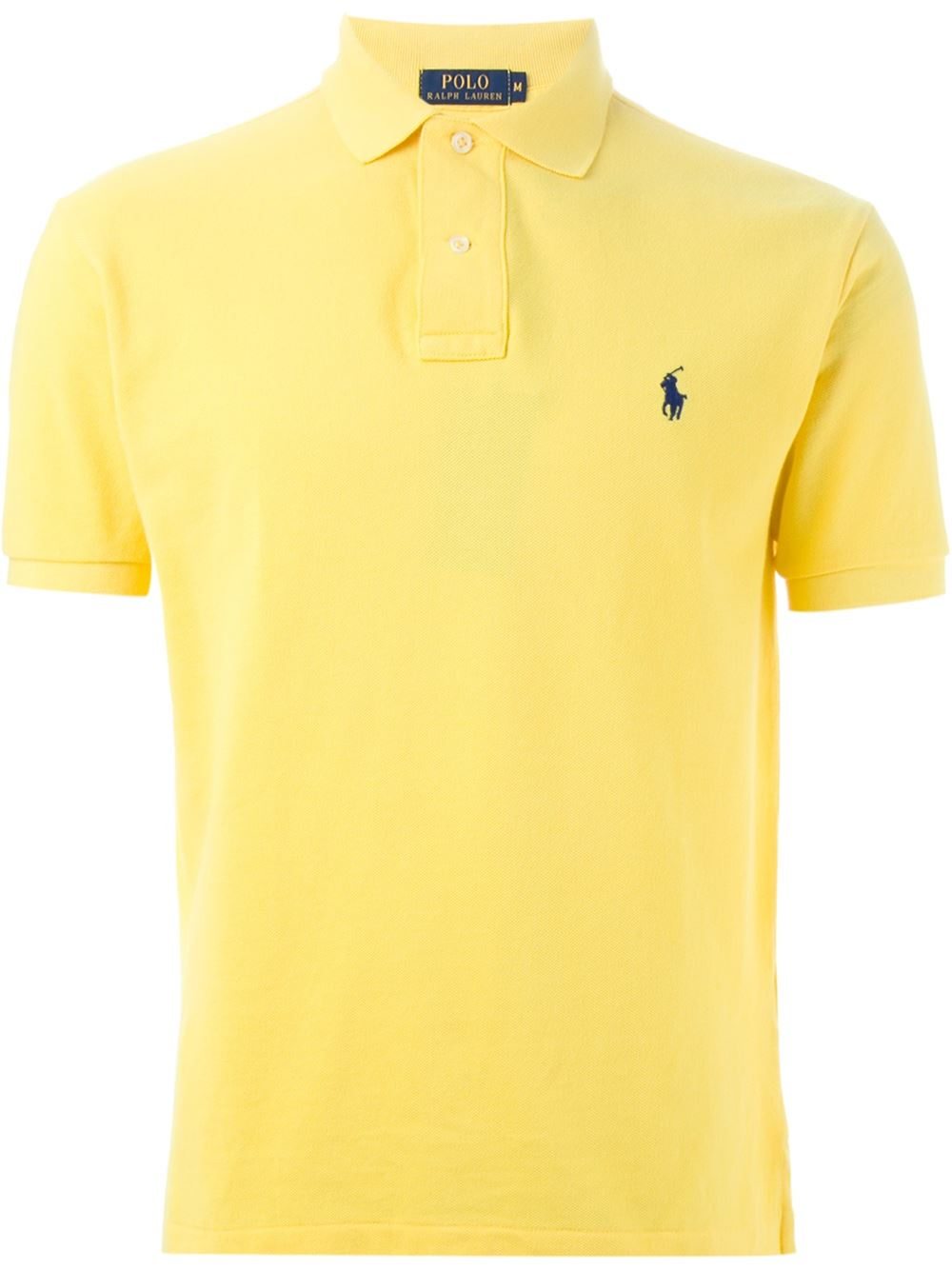 Polo ralph lauren slim fit polo shirt in yellow for men lyst for Man in polo shirt