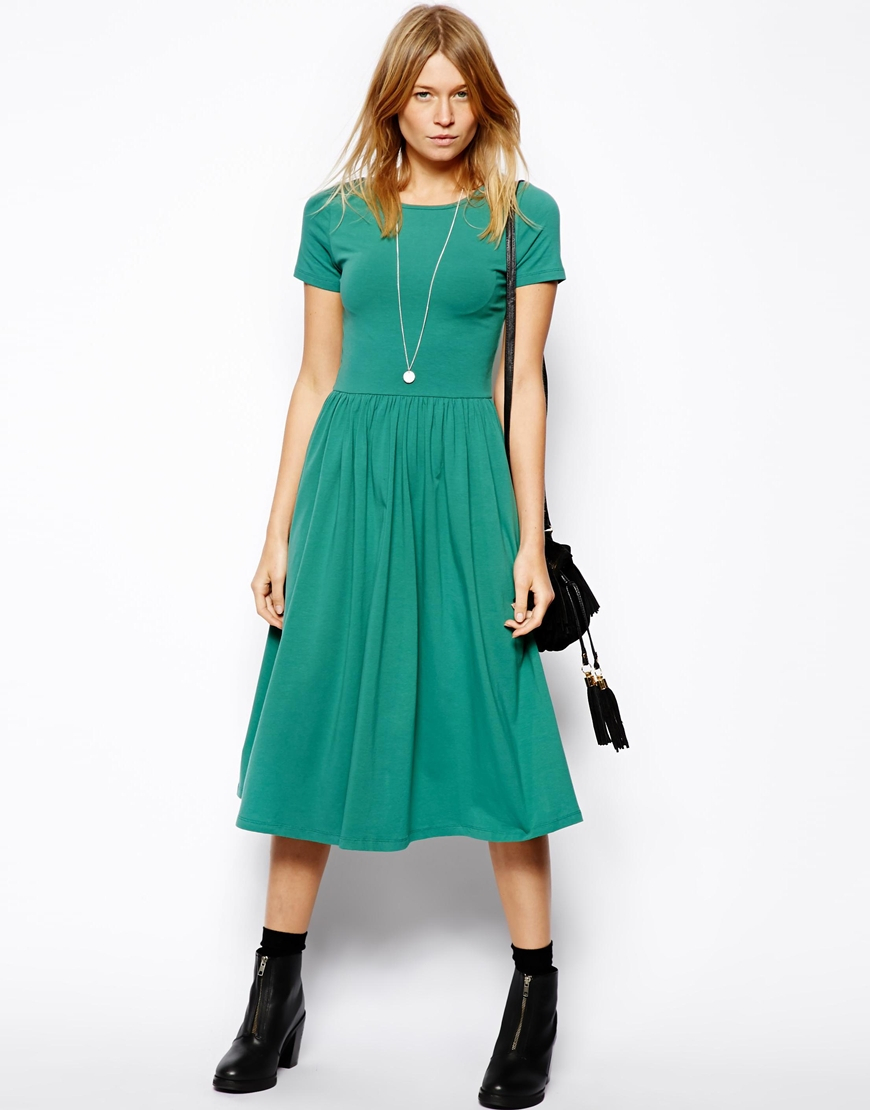 fca3fc02e2 Lyst - ASOS Midi Skater Dress With Short Sleeves in Green