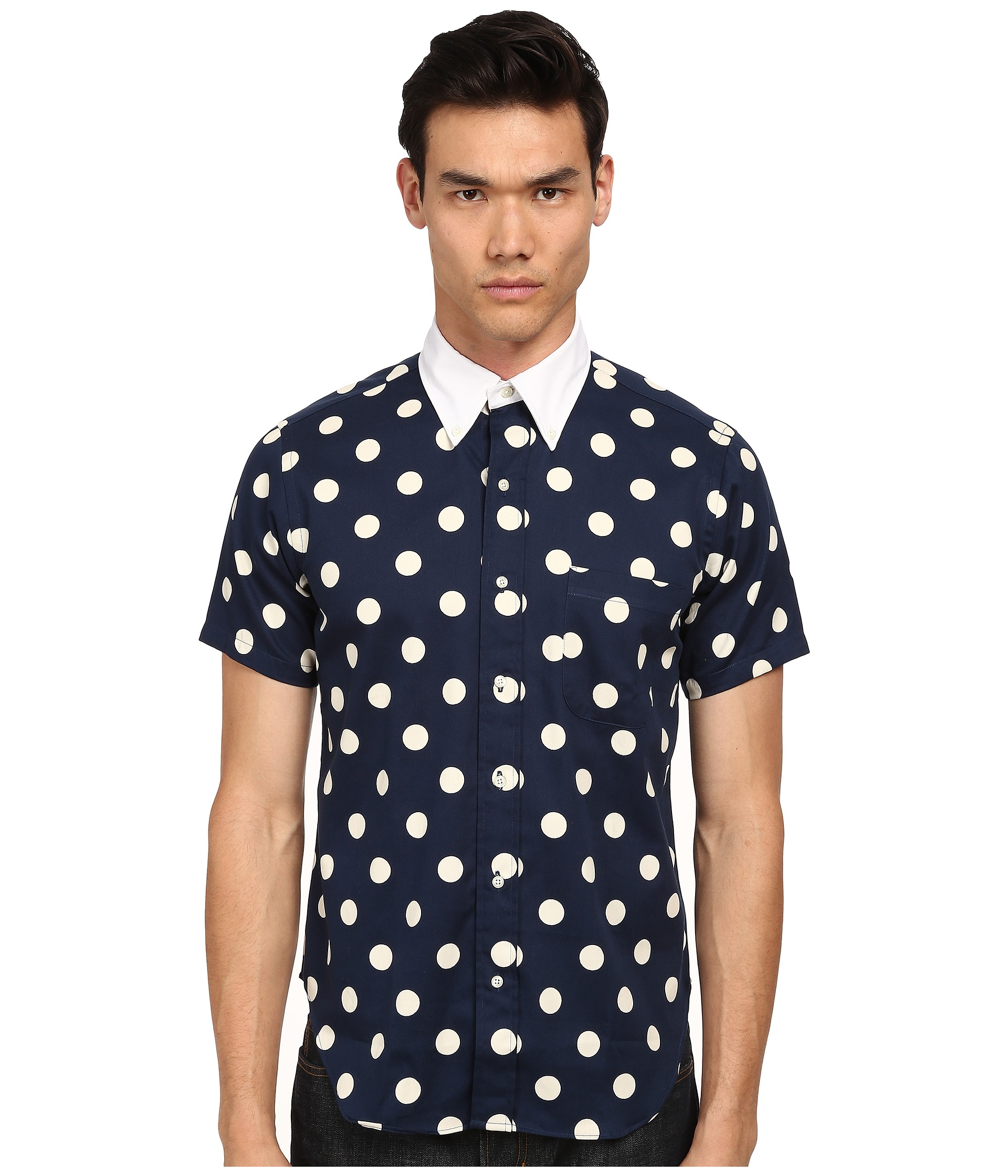 Mark mcnairy new amsterdam Short Sleeve Polka Dot Button Down in ...