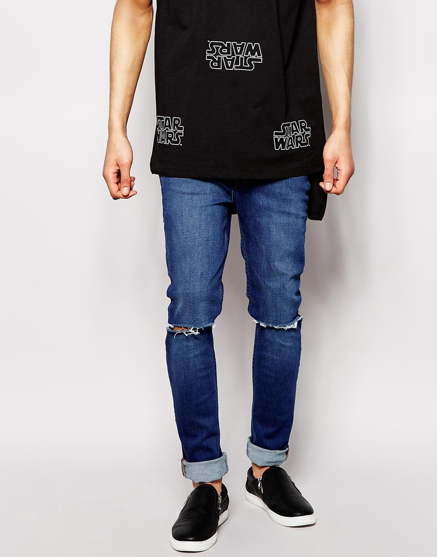 Hype Skinny Jeans With Ripped Knees in Blue for Men | Lyst