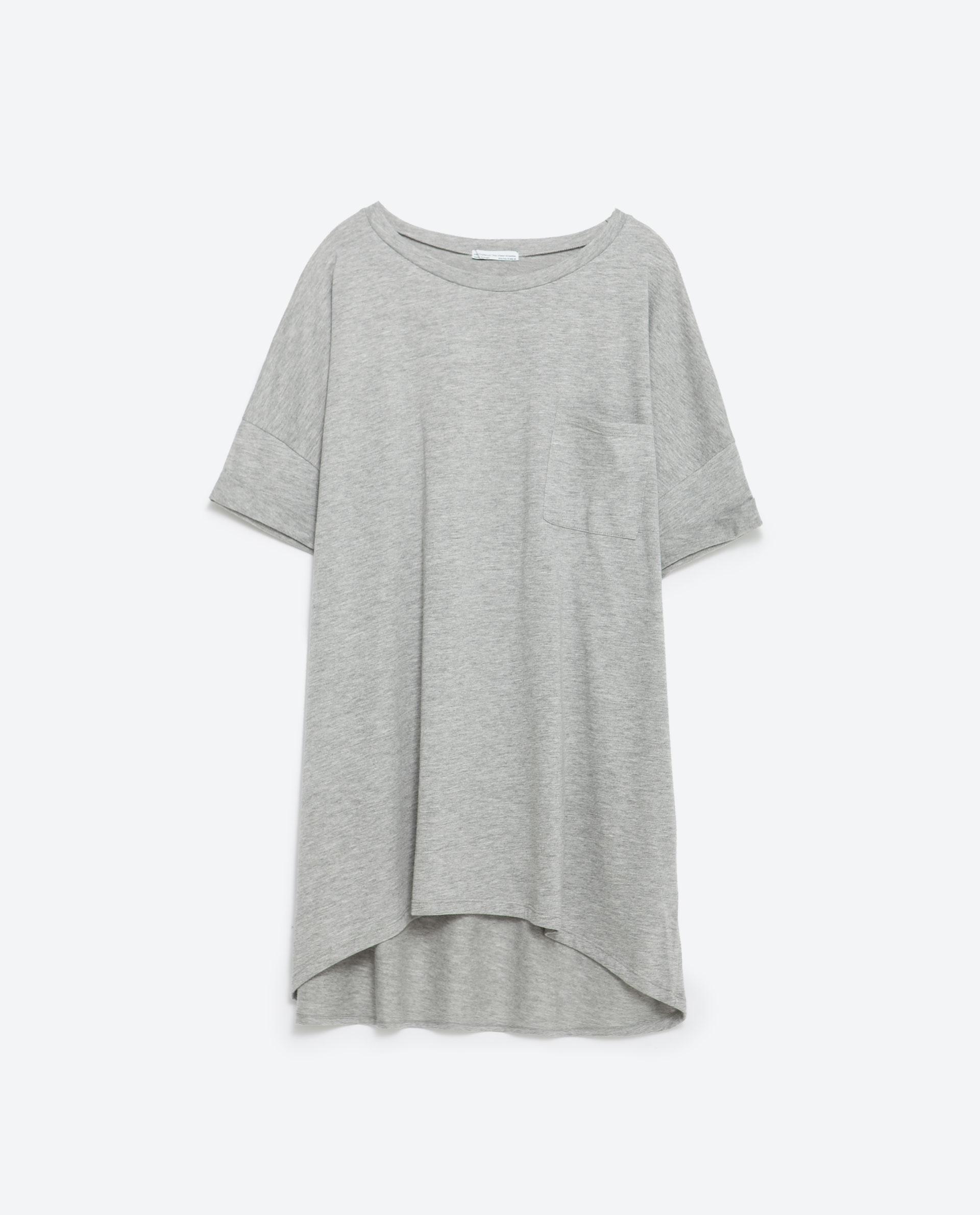 Zara oversized t shirt oversized t shirt in gray grey for Grey marl t shirt