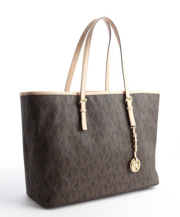 2ed79096a0e9bc ... bag coated canvas 16332 low cost lyst michael michael kors brown coated  canvas and leather jet set c2b0f bbe69 ...