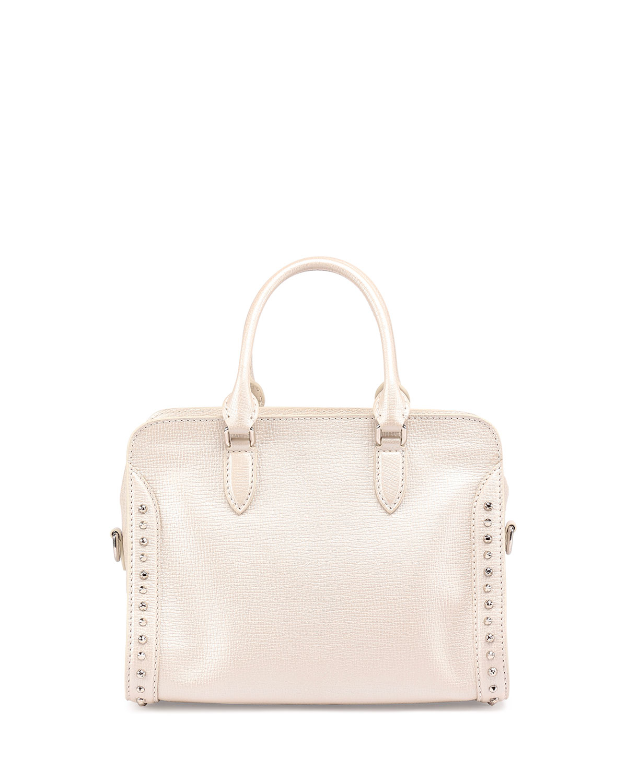 Alexander mcqueen Small Padlock Studded Satchel Bag in Natural | Lyst
