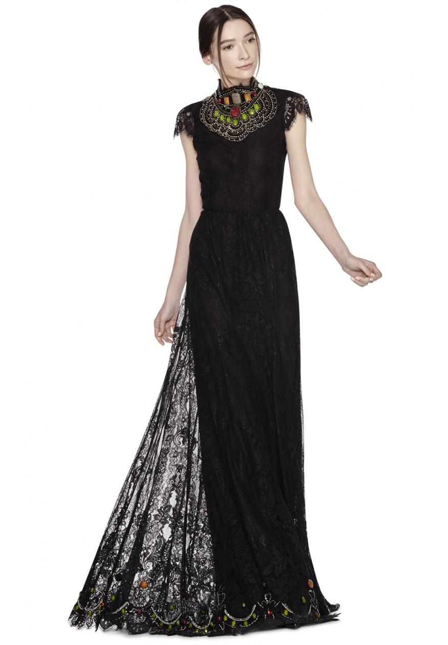 Lyst - Alice + Olivia Arwen Long Lace Dress in Black