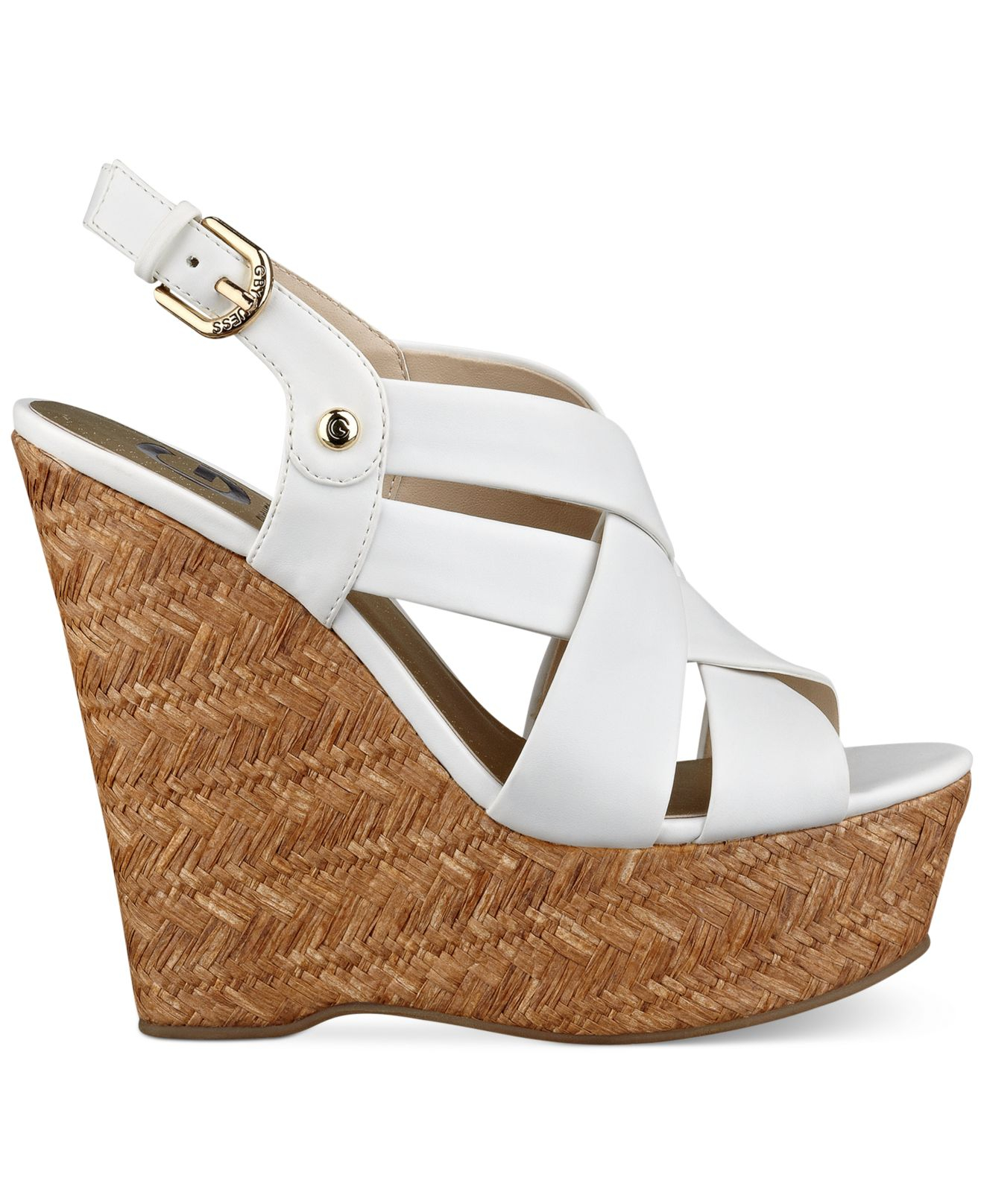 18c6464344 G by Guess Women'S Havana Platform Wedge Sandals in White - Lyst