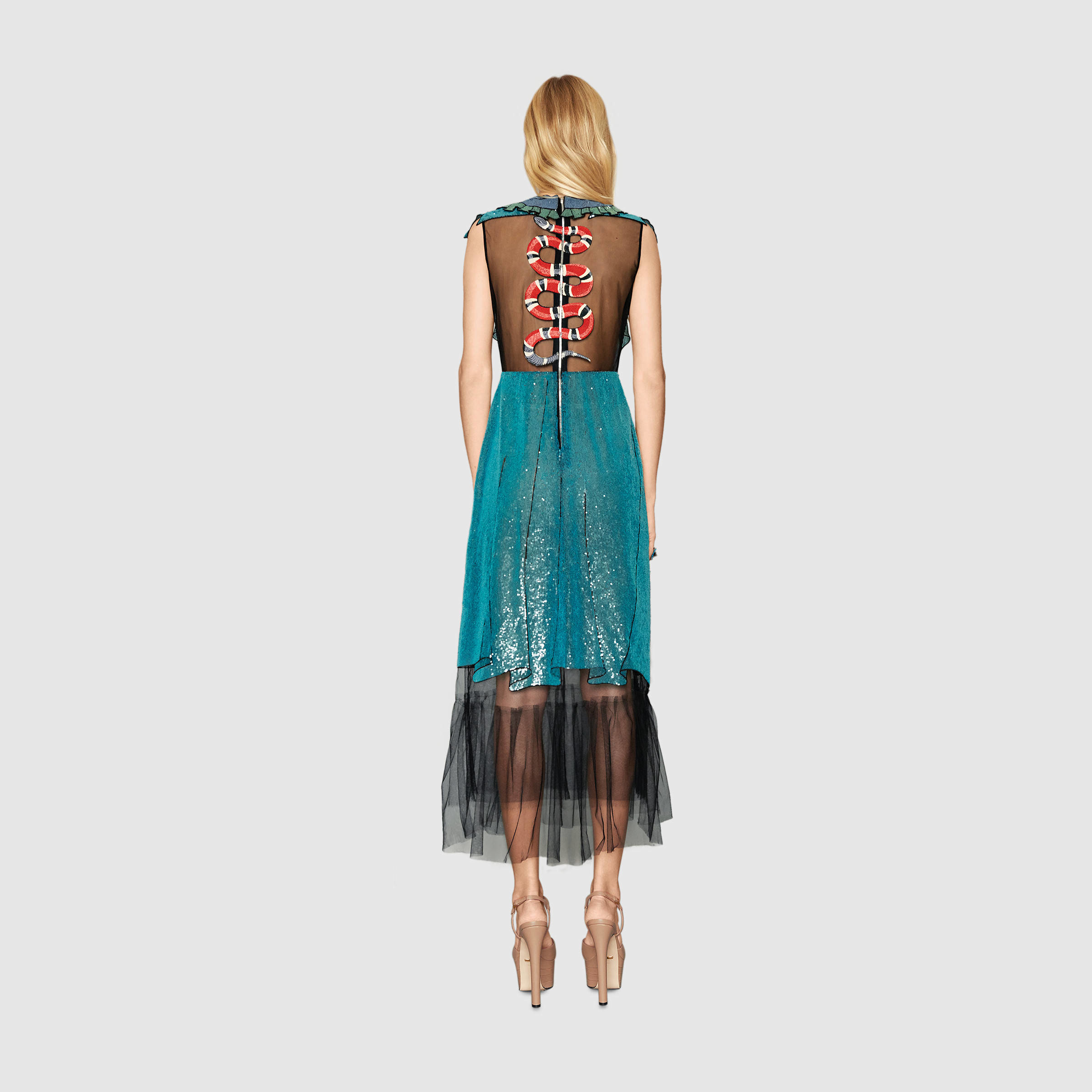 cd7f3e27cf3 Gucci Embroidered Tulle Dress in Blue - Lyst