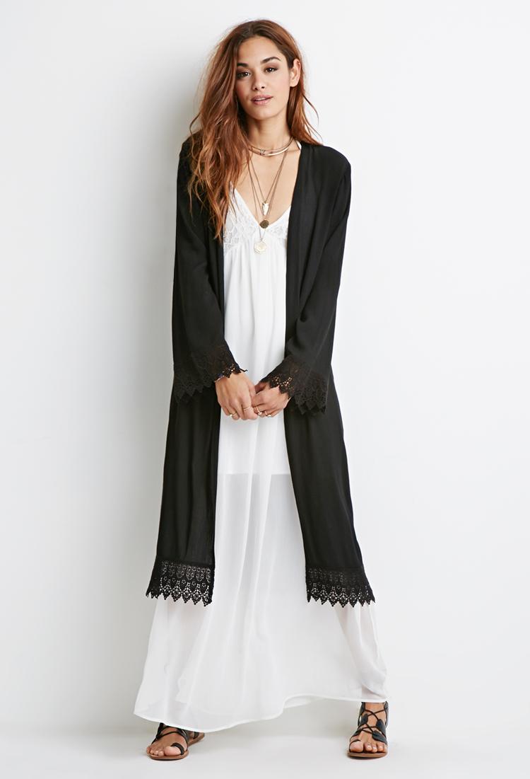 Forever 21 Crochet-trimmed Longline Kimono in Black   Lyst