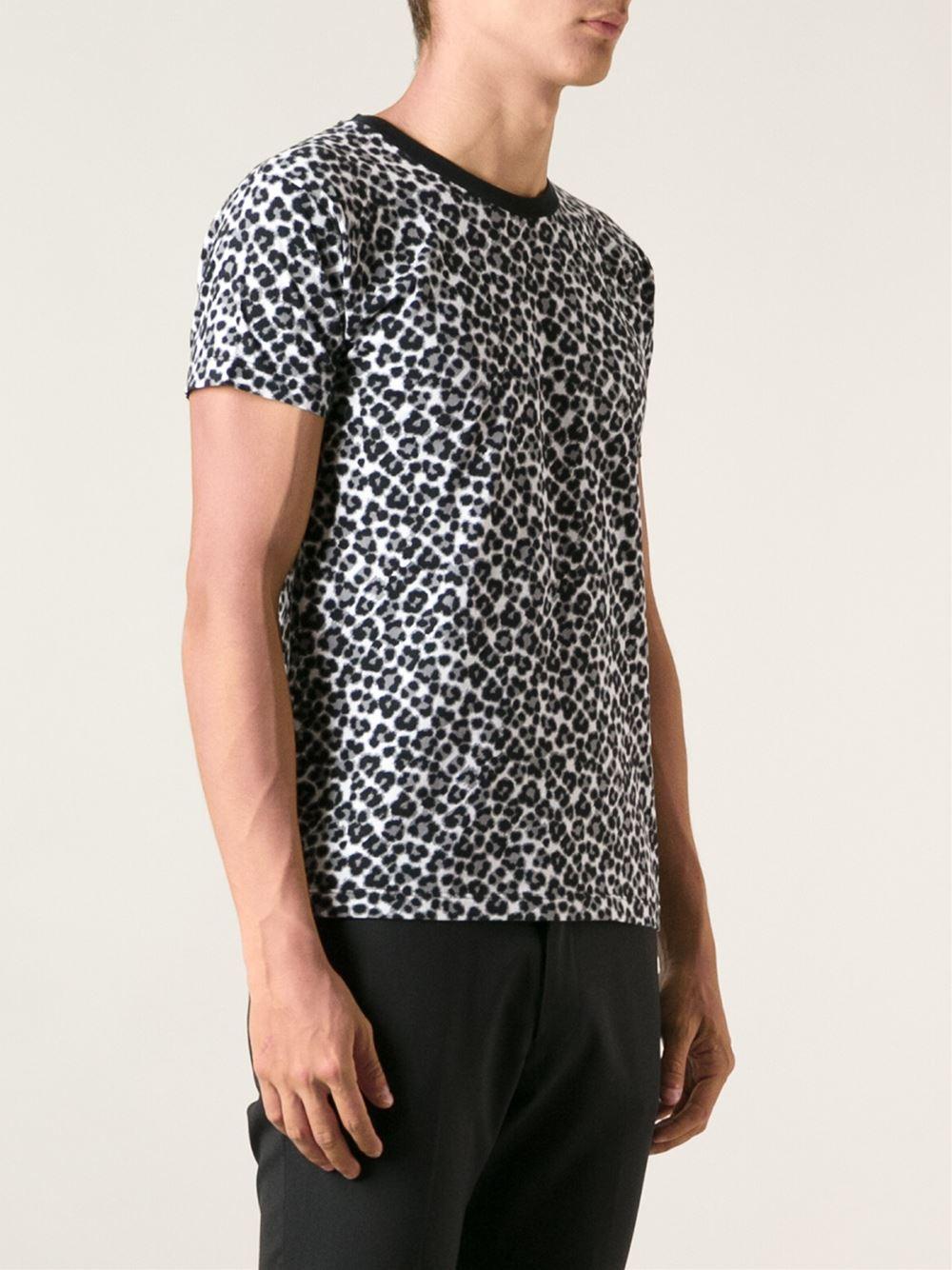 saint laurent leopard print t shirt in black for men lyst. Black Bedroom Furniture Sets. Home Design Ideas
