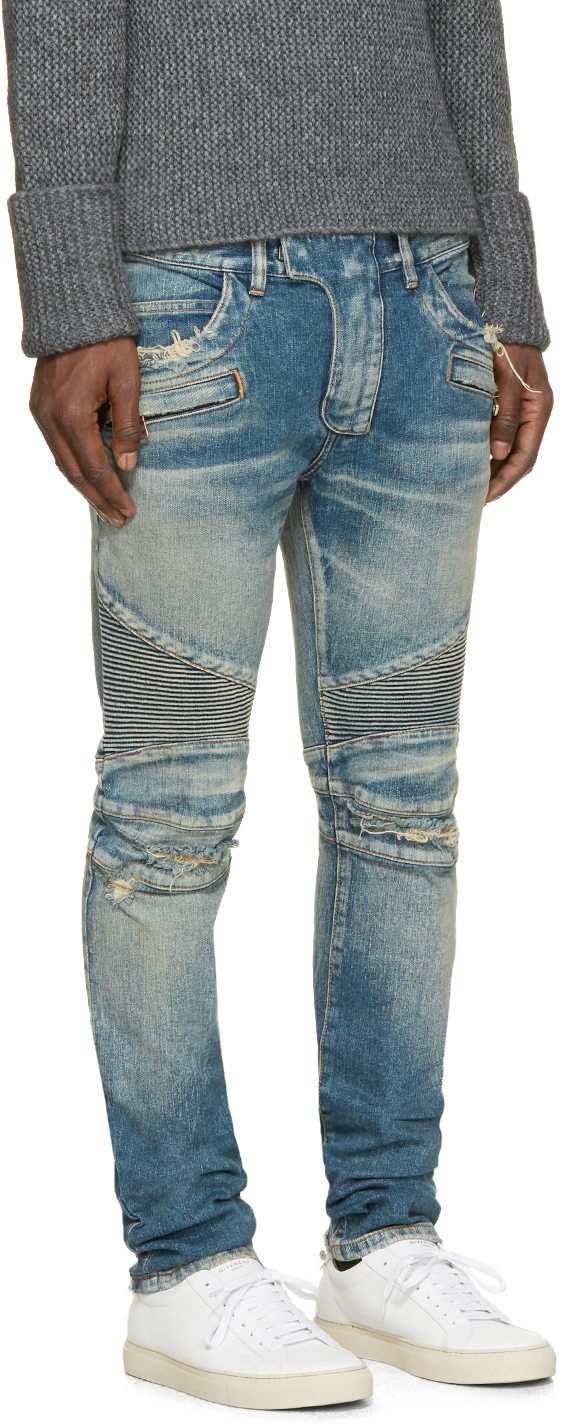 Visit New Blue Distressed Biker Jeans Balmain Buy Cheap Newest Cheap Sale Good Selling jdAVUQzb0