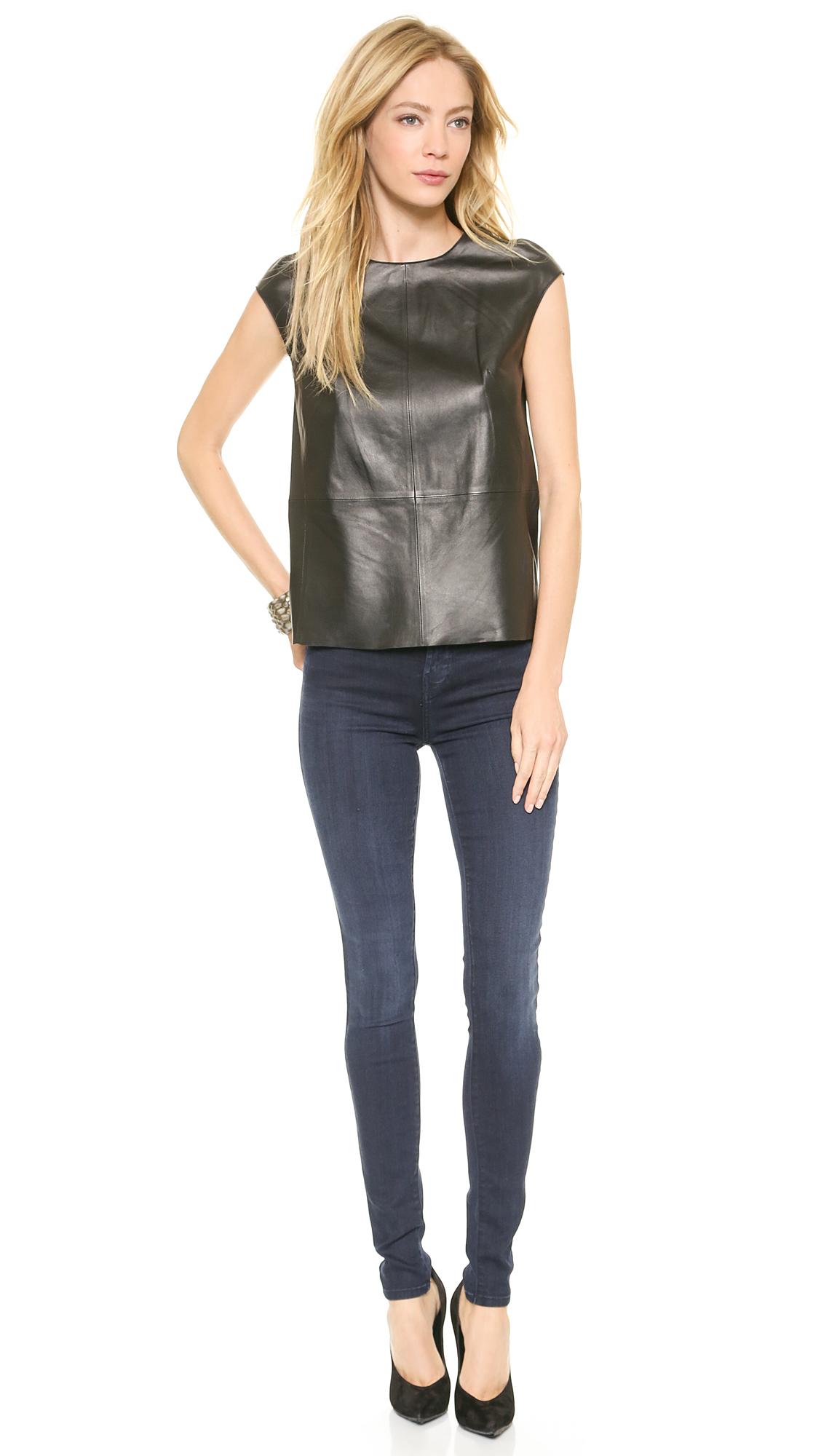 Lyst - J Brand Karo Leather Top Black in Black - photo #26