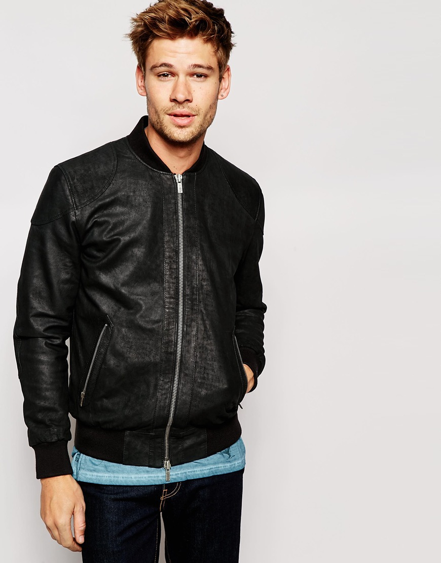 f4e0550d7f Lyst - Pepe Jeans Pepe Leather Jacket Neo Slim Fit Bomber Washed ...
