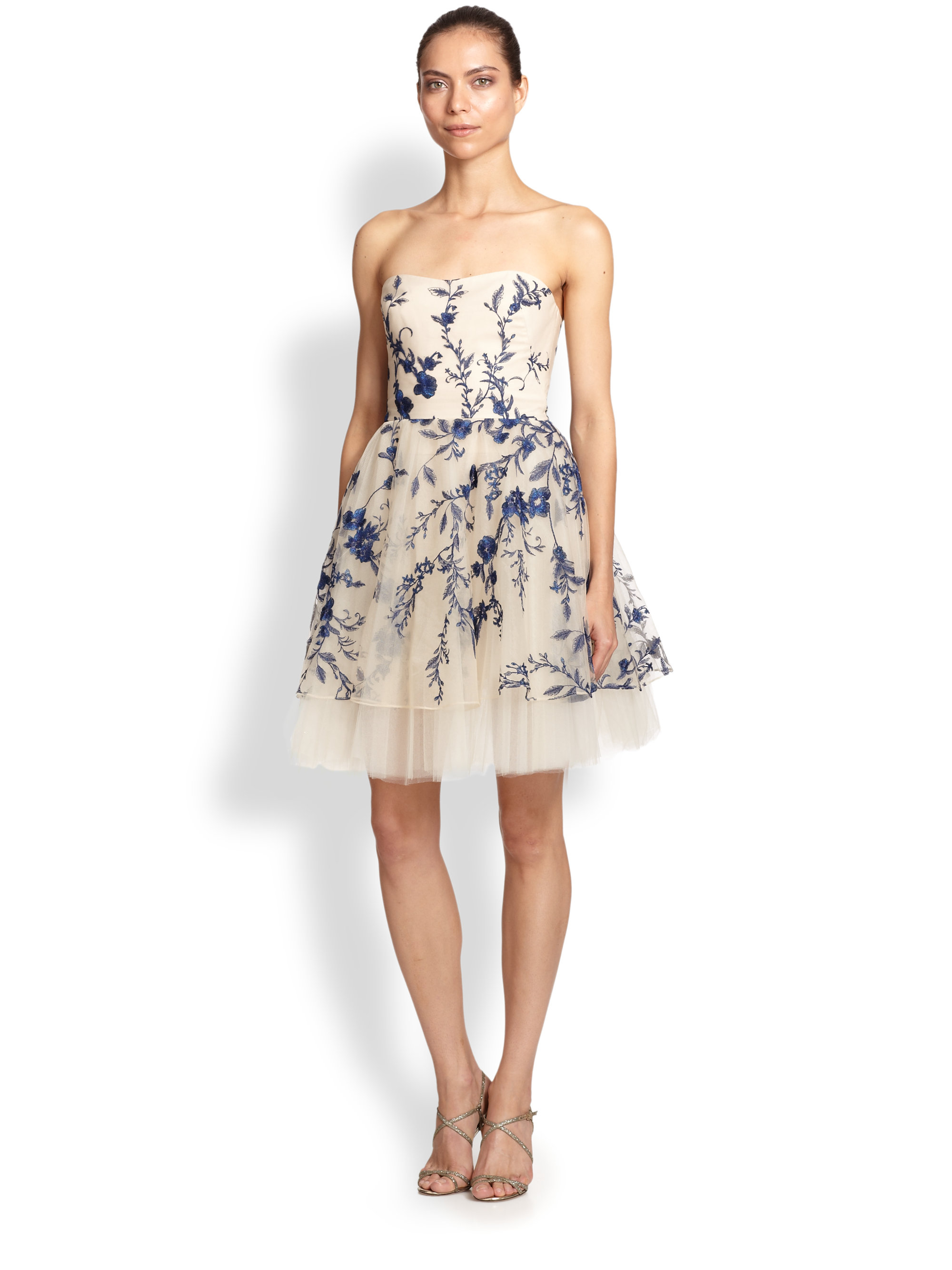 Lyst notte by marchesa strapless floral embroidered