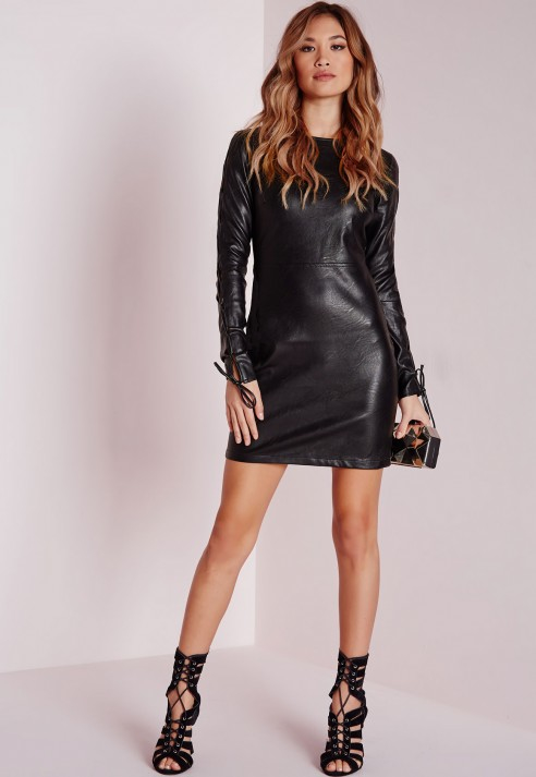Lyst Missguided Faux Leather Lace Up Sleeve Bodycon Dress Black In