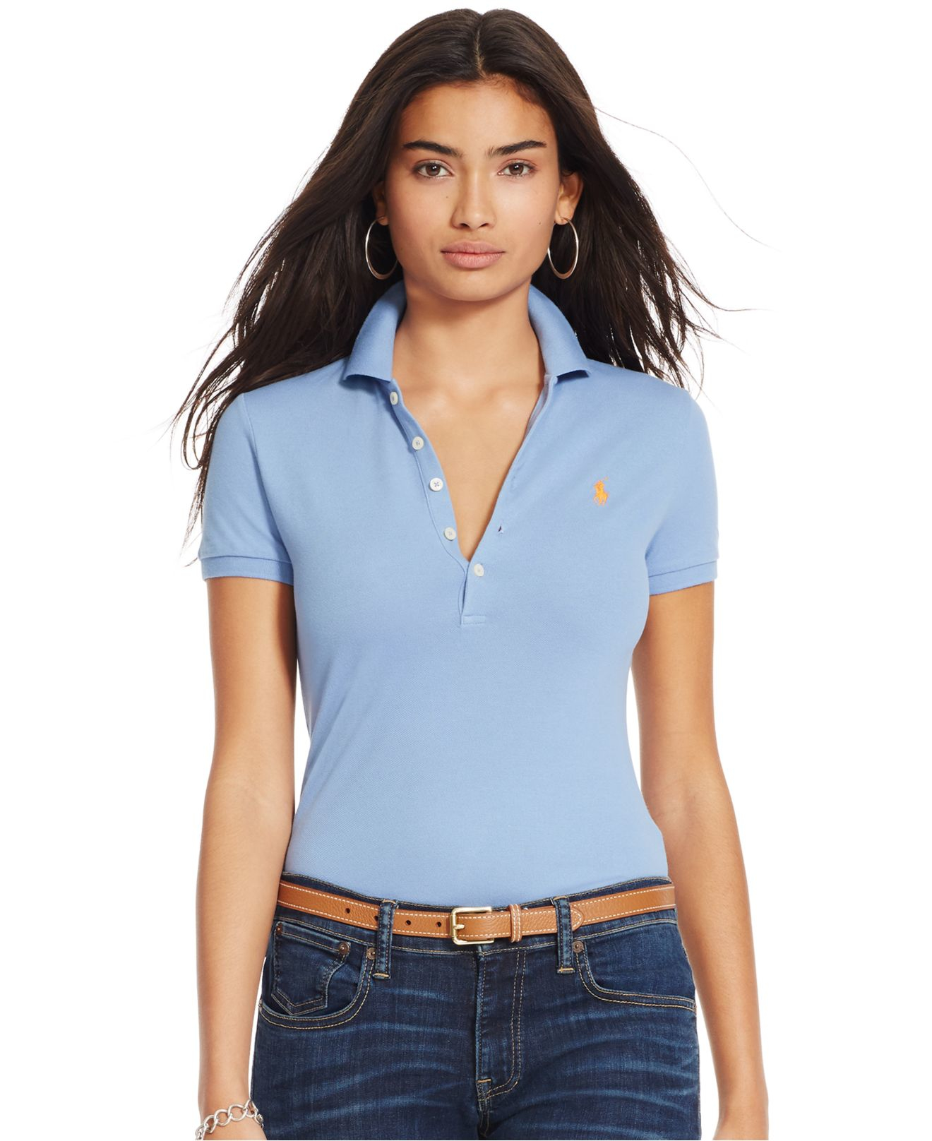 Lyst - Polo Ralph Lauren Skinny Stretch Polo Shirt in Blue 4c5abadbc