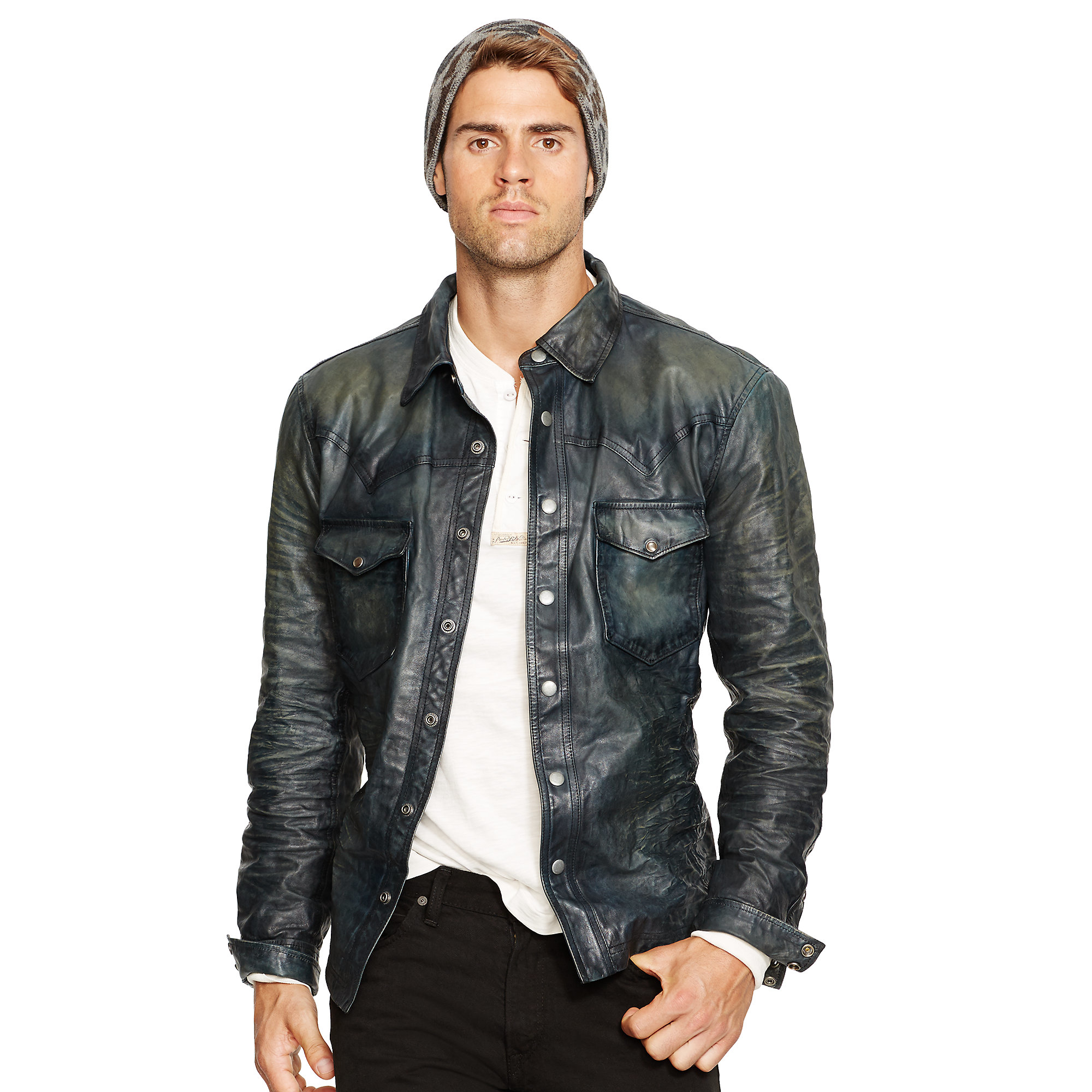 Lyst polo ralph lauren leather western jacket in blue for Leather jacket and shirt