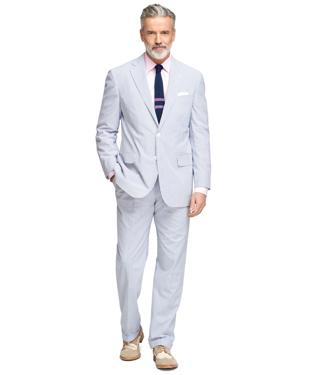 Lyst - Brooks Brothers Madison Fit Seersucker Suit in Blue ...