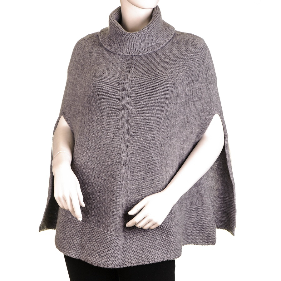 Knitting Pattern For Cashmere Poncho : Black.co.uk Grey Roll Neck Knit Cashmere Poncho in Gray Lyst