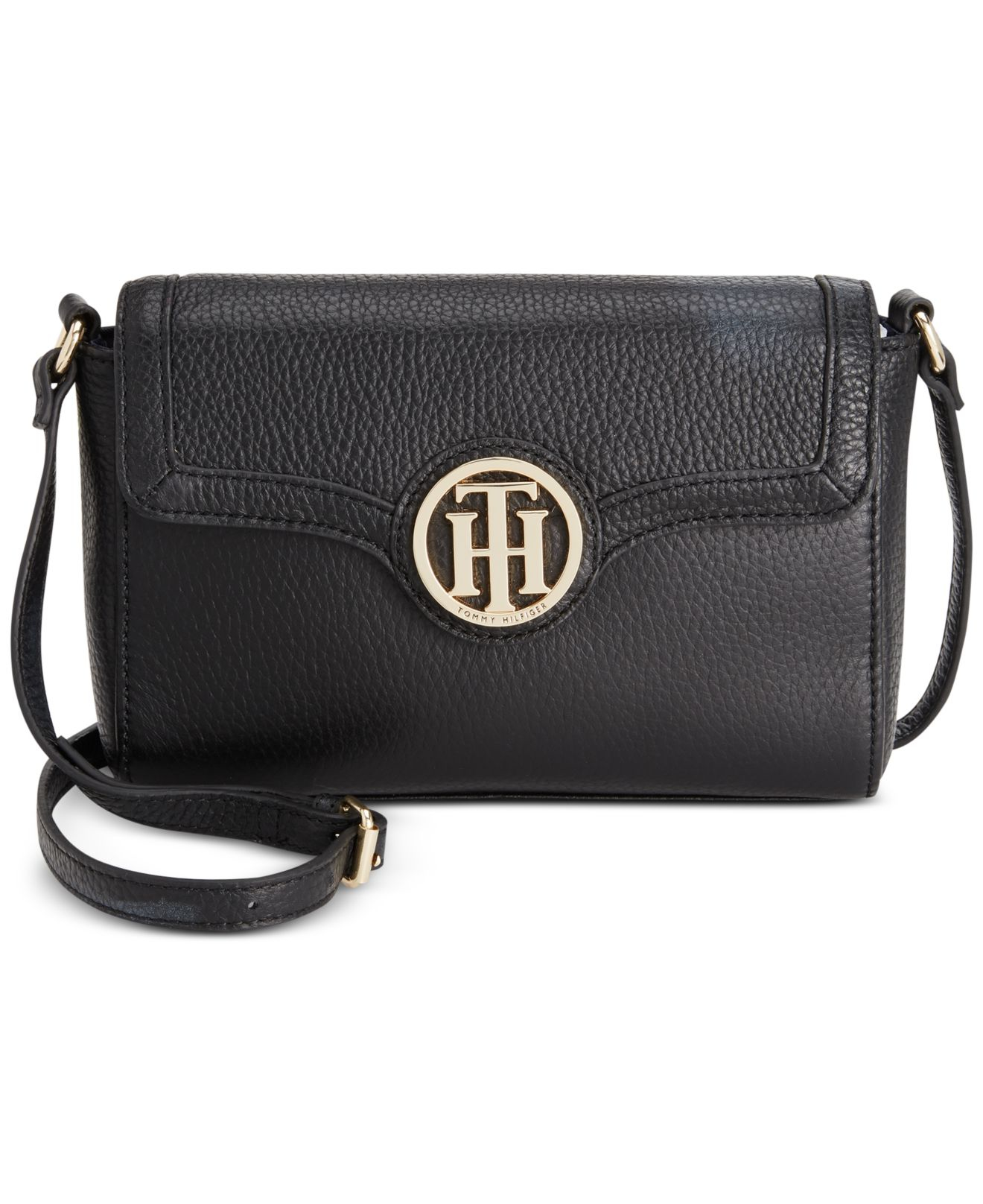 1618502b21c Tommy Hilfiger Maggie Pebble Leather Flap Crossbody in Black - Lyst
