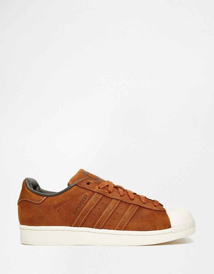 brown leather adidas trainers for men