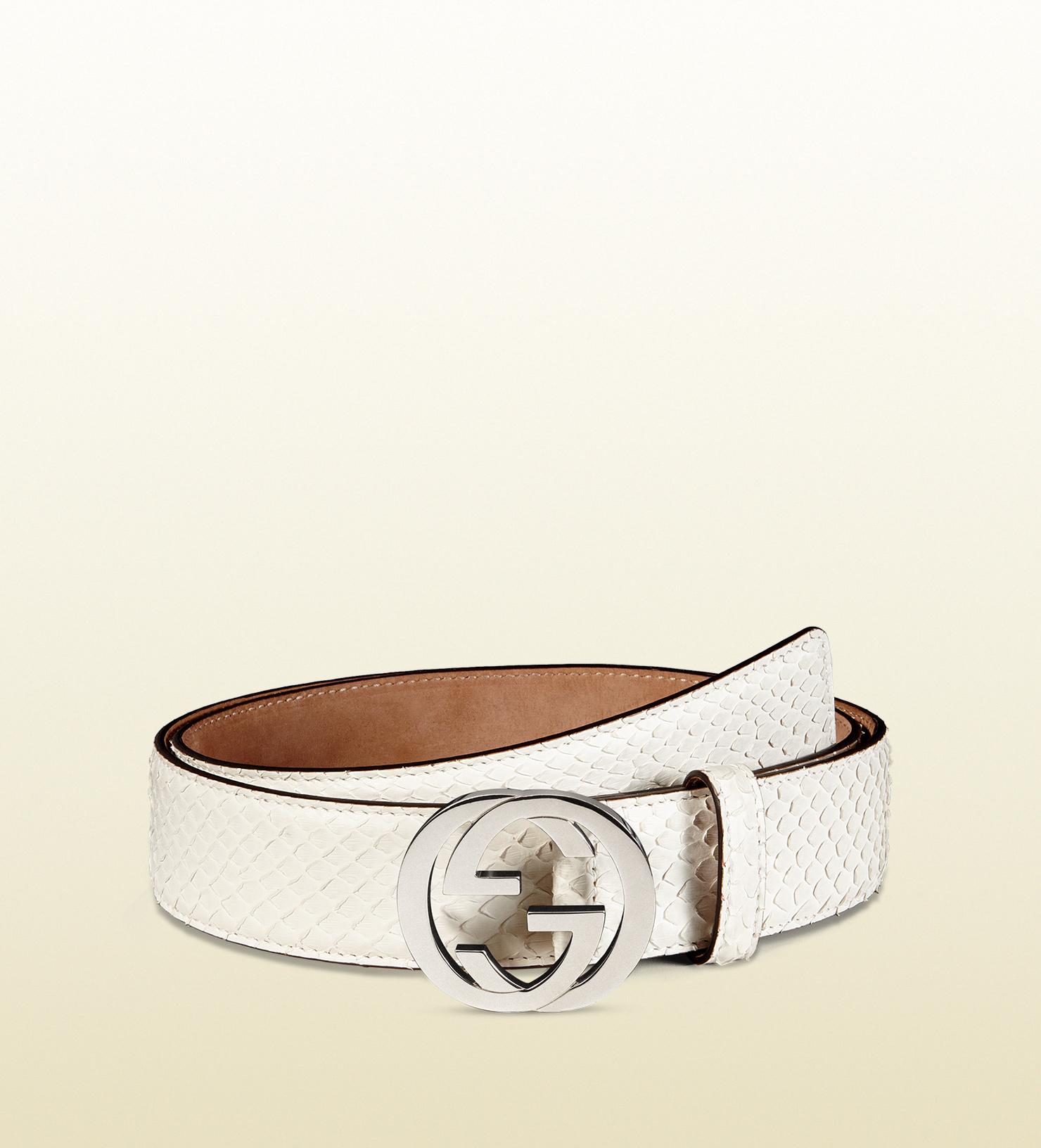 Lyst - Gucci Python Belt With Interlocking G Buckle in White