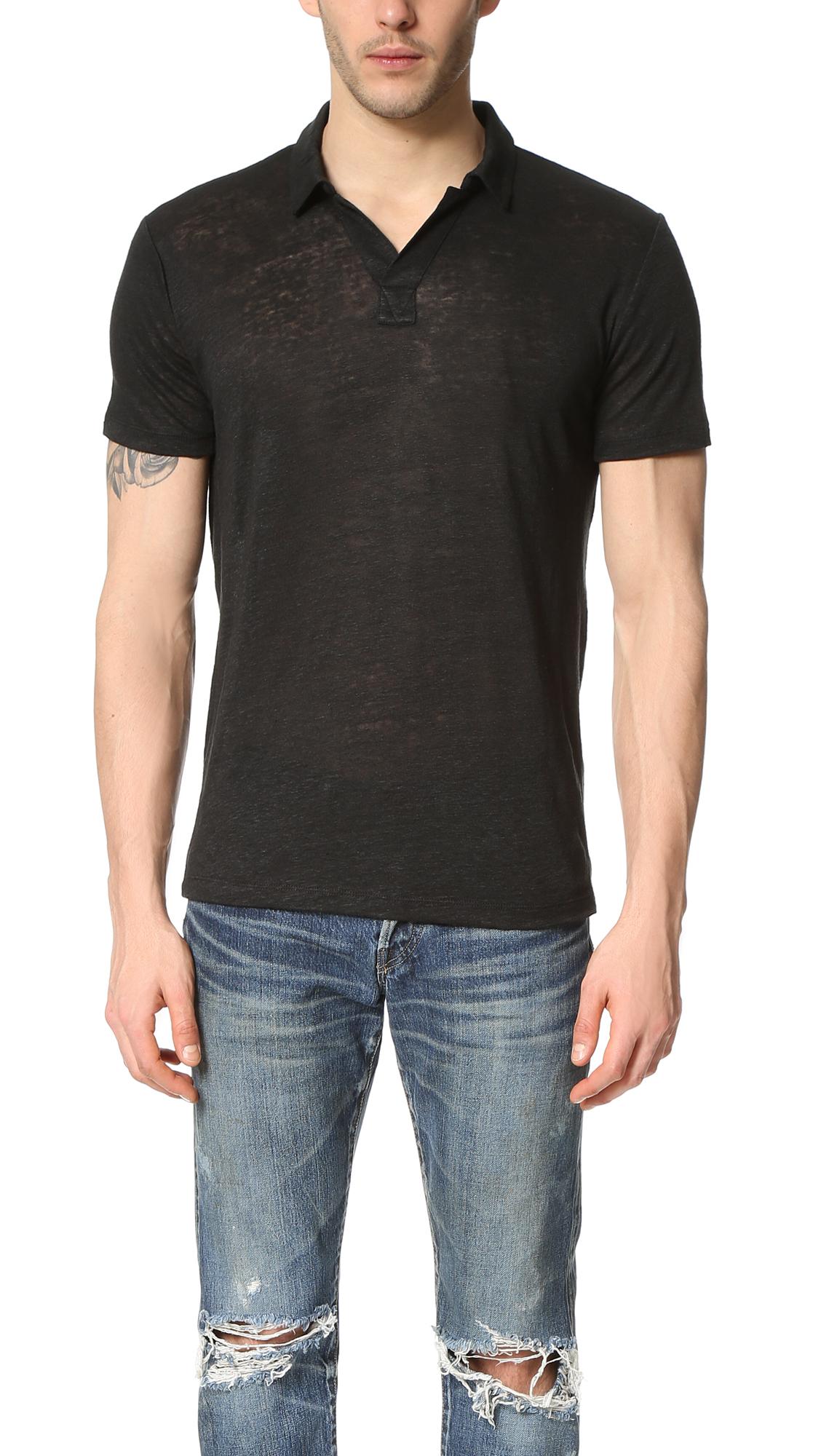 Vince Linen Short Sleeve Polo Shirt in Black for Men | Lyst
