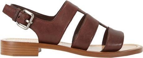 Miu Miu Multistrap Slingback Sandals In Brown Lyst