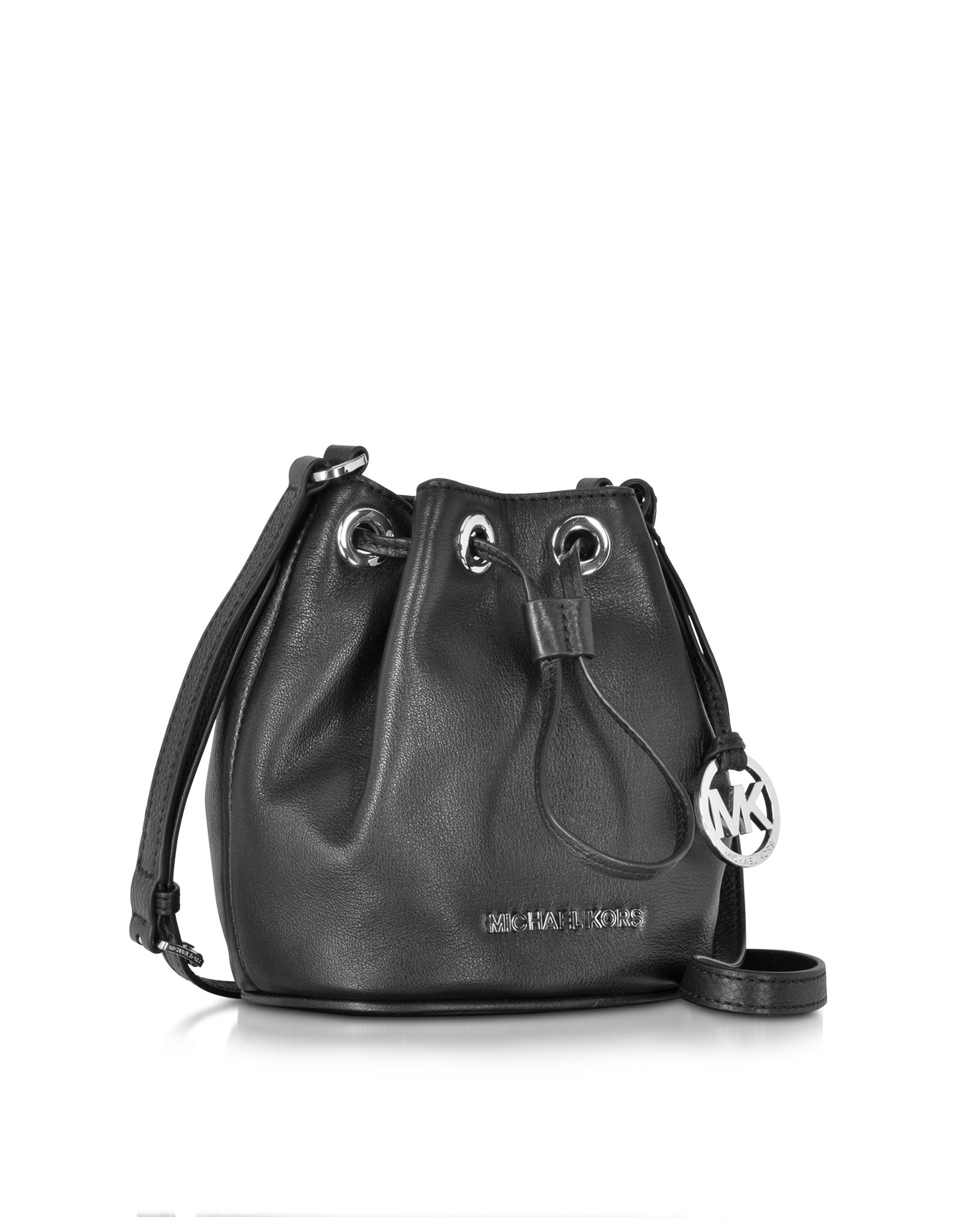 e7057df62ad9 Michael Kors Jules Black Soft Leather Drawstring Crossbody Bag in ...