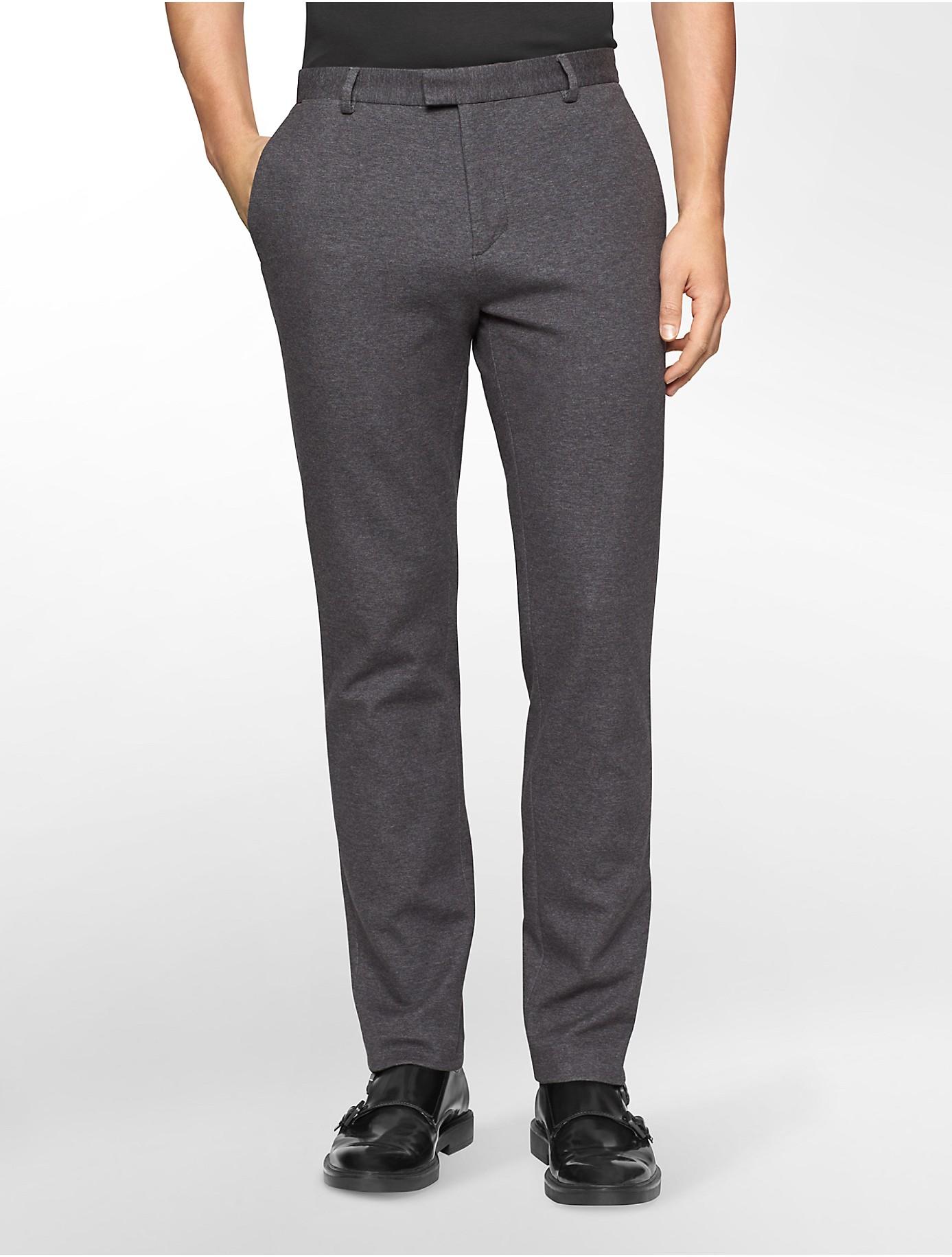 Calvin klein White Label Slim Fit Ponte Knit Dress Pants in Gray ...